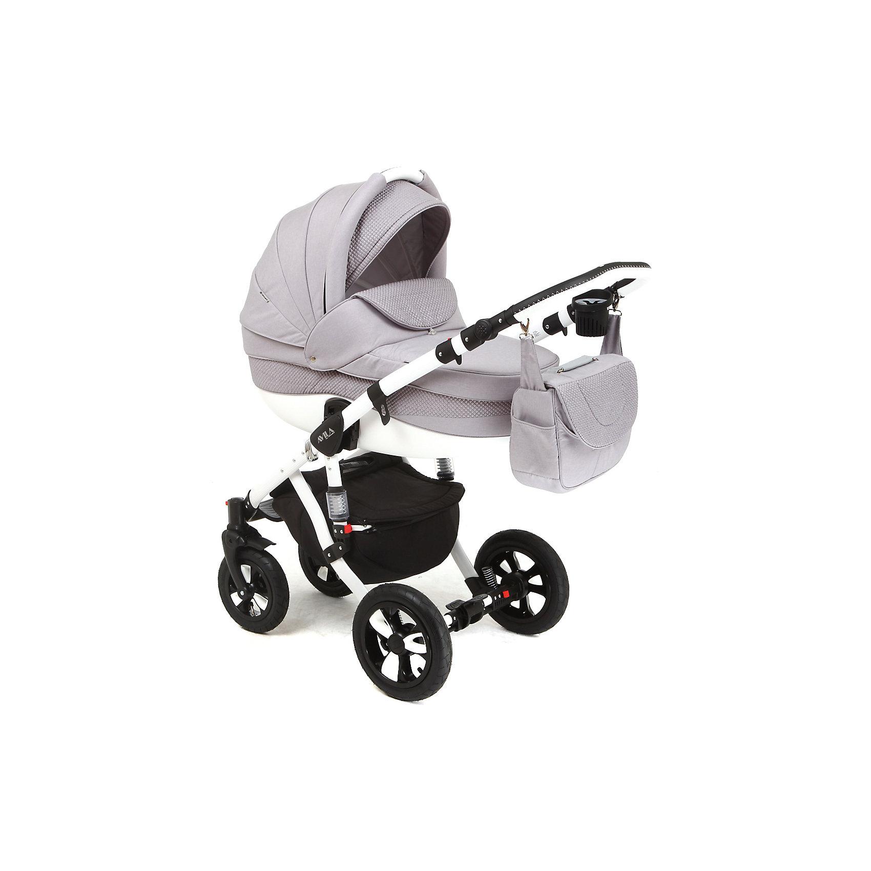 Коляска 2 в 1 AVILA, Adamex, серыйПрочная и удобная коляска позволит перевозить ребенка, не беспокоясь при этом о его безопасности. Приятный цвет коляски практичен и универсален. За счет двух больших надувных колес и амортизации коляска отлично будет ехать как по не ровной дороге, так и по снегу. Коляска легкая и прочная.<br>На коляске - колеса разного размера, поэтому конструкция - очень устойчивая. Модель дополнена 5-точечными ремнями безопасности. Изделие произведено из качественных и безопасных для малышей материалов, оно соответствуют всем современным требованиям безопасности.<br><br>Дополнительная информация:<br><br>цвет: серый;<br>материал: металл, пластик, текстиль;<br>тип сложения: книжка;<br>вес коляски: 14,2 кг;<br>материал колес: резина;<br>амортизаторы;<br>регулировка подножки по высоте;<br>регулировка ручки по высоте;<br>пятиточечные ремни безопасности;<br>возможность снять и постирать покрытие;<br>надувные колеса;<br>размер коляски: 109х128х59 см;<br>в сложенном виде: 97х38х61 см;<br>съемный бампер.<br><br>Комплектация:<br>дождевик;<br>корзина для покупок;<br>сумка для мамы;<br>москитная сетка. <br><br>Коляска 2 в 1 AVILA, серый от компании Adamex можно купить в нашем магазине.<br><br>Ширина мм: 970<br>Глубина мм: 600<br>Высота мм: 660<br>Вес г: 20400<br>Возраст от месяцев: 0<br>Возраст до месяцев: 36<br>Пол: Унисекс<br>Возраст: Детский<br>SKU: 4778495