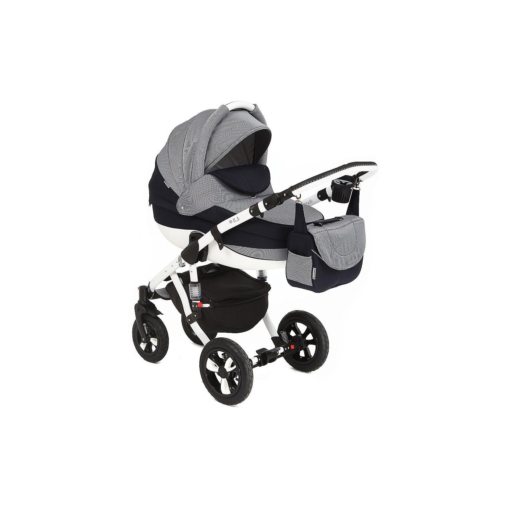 Коляска 2 в 1 AVILA, Adamex, меланжПрочная и удобная коляска позволит перевозить ребенка, не беспокоясь при этом о его безопасности. Приятный цвет коляски практичен и универсален. За счет двух больших надувных колес и амортизации коляска отлично будет ехать как по не ровной дороге, так и по снегу. Коляска легкая и прочная.<br>На коляске - колеса разного размера, поэтому конструкция - очень устойчивая. Модель дополнена 5-точечными ремнями безопасности. Изделие произведено из качественных и безопасных для малышей материалов, оно соответствуют всем современным требованиям безопасности.<br><br>Дополнительная информация:<br><br>цвет: меланж;<br>материал: металл, пластик, текстиль;<br>тип сложения: книжка;<br>вес коляски: 14,2 кг;<br>материал колес: резина;<br>амортизаторы;<br>регулировка подножки по высоте;<br>регулировка ручки по высоте;<br>пятиточечные ремни безопасности;<br>возможность снять и постирать покрытие;<br>надувные колеса;<br>размер коляски: 109х128х59 см;<br>в сложенном виде: 97х38х61 см;<br>съемный бампер.<br><br>Комплектация:<br>дождевик;<br>корзина для покупок;<br>сумка для мамы;<br>москитная сетка. <br><br>Коляска 2 в 1 AVILA, меланж от компании Adamex можно купить в нашем магазине.<br><br>Ширина мм: 970<br>Глубина мм: 600<br>Высота мм: 660<br>Вес г: 17400<br>Возраст от месяцев: 0<br>Возраст до месяцев: 36<br>Пол: Унисекс<br>Возраст: Детский<br>SKU: 4778496