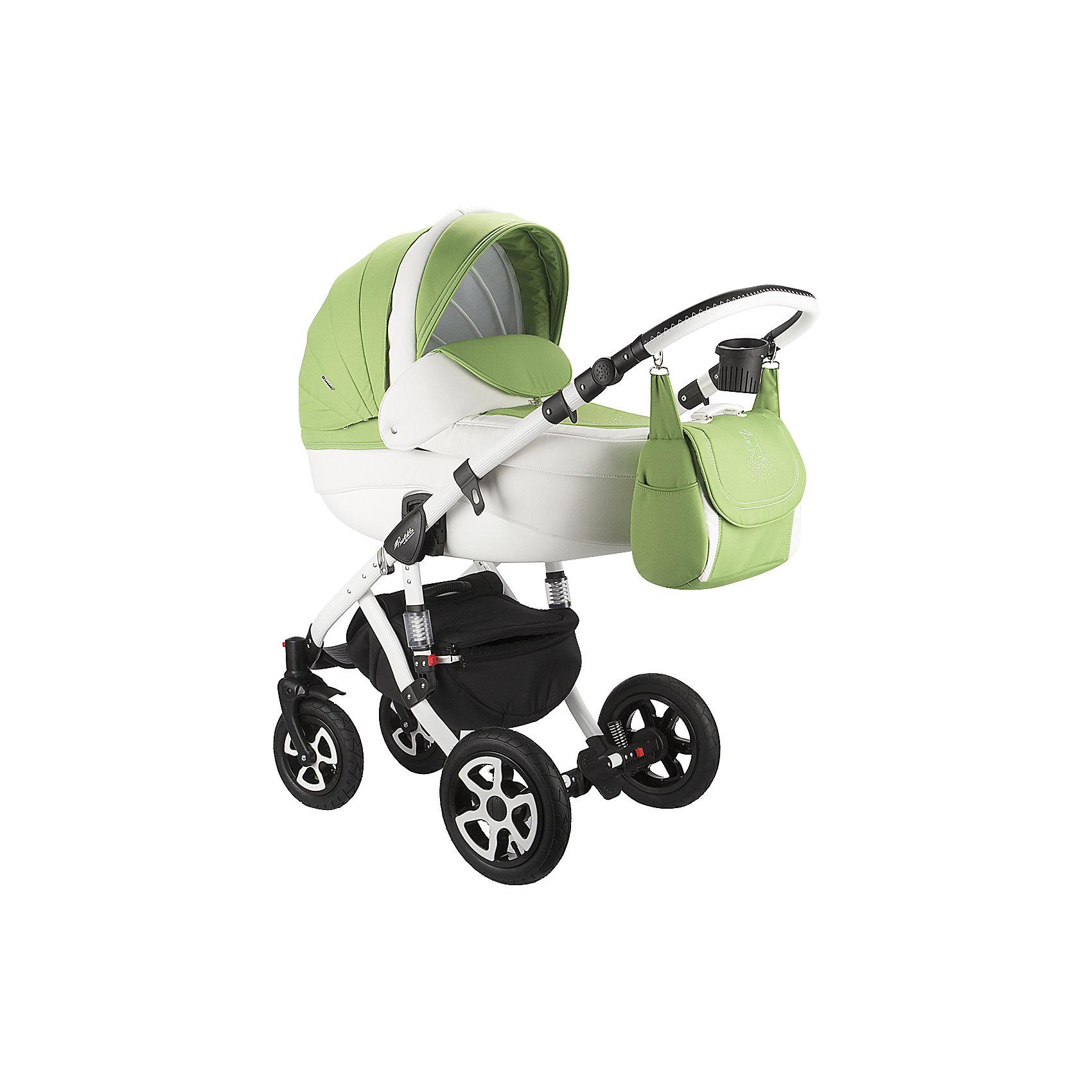 Коляска 2 в 1 Adamex Barletta, Лисёнок белый/зеленыйКоляски 2 в 1<br>Стильная коляска выполнена в современном и удобном дизайне. Прочная и удобная коляска позволит перевозить ребенка, не беспокоясь при этом о его безопасности. Приятный цвет коляски практичен и универсален. За счет продуманной формы колес и амортизации коляска отлично будет ехать как по не ровной дороге, так и по снегу. Коляска легкая и прочная.<br>На коляске - колеса разного размера, поэтому конструкция - очень устойчивая. Модель дополнена 5-точечными ремнями безопасности. Изделие произведено из качественных и безопасных для малышей материалов, оно соответствуют всем современным требованиям безопасности.<br><br>Дополнительная информация:<br><br>цвет: белый, зеленый;<br>механизм складывания: книжка; <br>тип колес: надувные; <br>пятиточечные ремни безопасности; <br>четыре положения спинки; <br>регулировка положений ручки и подножки; <br>материал рамы: алюминий; <br>съёмный бампер; <br>мягкие накладки на внутренних ремнях безопасности; <br>передние колеса поворотные с возможностью фиксации; <br>система амортизации - пружины;<br>вес: 15.4 кг; <br>размер коляски: 106х124х60 см. <br><br>Коляска 2 в 1 Barletta, Лисёнок белый/зеленый от компании Adamex можно купить в нашем магазине.<br><br>Ширина мм: 970<br>Глубина мм: 600<br>Высота мм: 660<br>Вес г: 20700<br>Возраст от месяцев: 0<br>Возраст до месяцев: 36<br>Пол: Женский<br>Возраст: Детский<br>SKU: 4778499