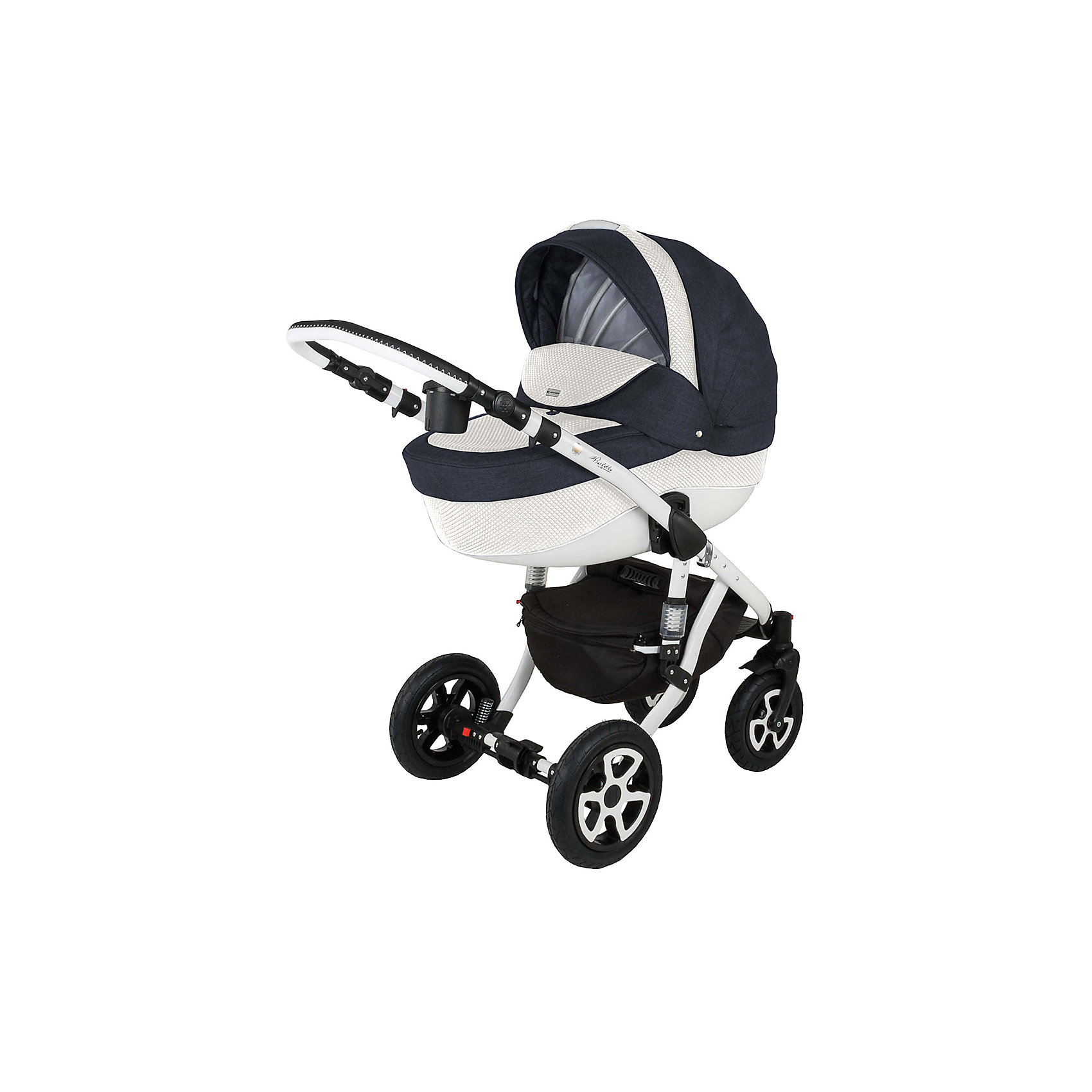 Коляска 2 в 1 Barletta, Adamex, джинс/белыйСтильная коляска выполнена в современном и удобном дизайне. Прочная и удобная коляска позволит перевозить ребенка, не беспокоясь при этом о его безопасности. Приятный цвет коляски практичен и универсален. За счет продуманной формы колес и амортизации коляска отлично будет ехать как по не ровной дороге, так и по снегу. Коляска легкая и прочная.<br>На коляске - колеса разного размера, поэтому конструкция - очень устойчивая. Модель дополнена 5-точечными ремнями безопасности. Изделие произведено из качественных и безопасных для малышей материалов, оно соответствуют всем современным требованиям безопасности.<br><br>Дополнительная информация:<br><br>цвет: синий, белый;<br>механизм складывания: книжка; <br>тип колес: надувные; <br>пятиточечные ремни безопасности; <br>четыре положения спинки; <br>регулировка положений ручки и подножки; <br>материал рамы: алюминий; <br>съёмный бампер; <br>мягкие накладки на внутренних ремнях безопасности; <br>передние колеса поворотные с возможностью фиксации; <br>система амортизации - пружины;<br>вес: 15.4 кг; <br>размер коляски: 106х124х60 см. <br><br>Коляска 2 в 1 Barletta, джинс/белый от компании Adamex можно купить в нашем магазине.<br><br>Ширина мм: 970<br>Глубина мм: 600<br>Высота мм: 660<br>Вес г: 20700<br>Возраст от месяцев: 0<br>Возраст до месяцев: 36<br>Пол: Унисекс<br>Возраст: Детский<br>SKU: 4778502