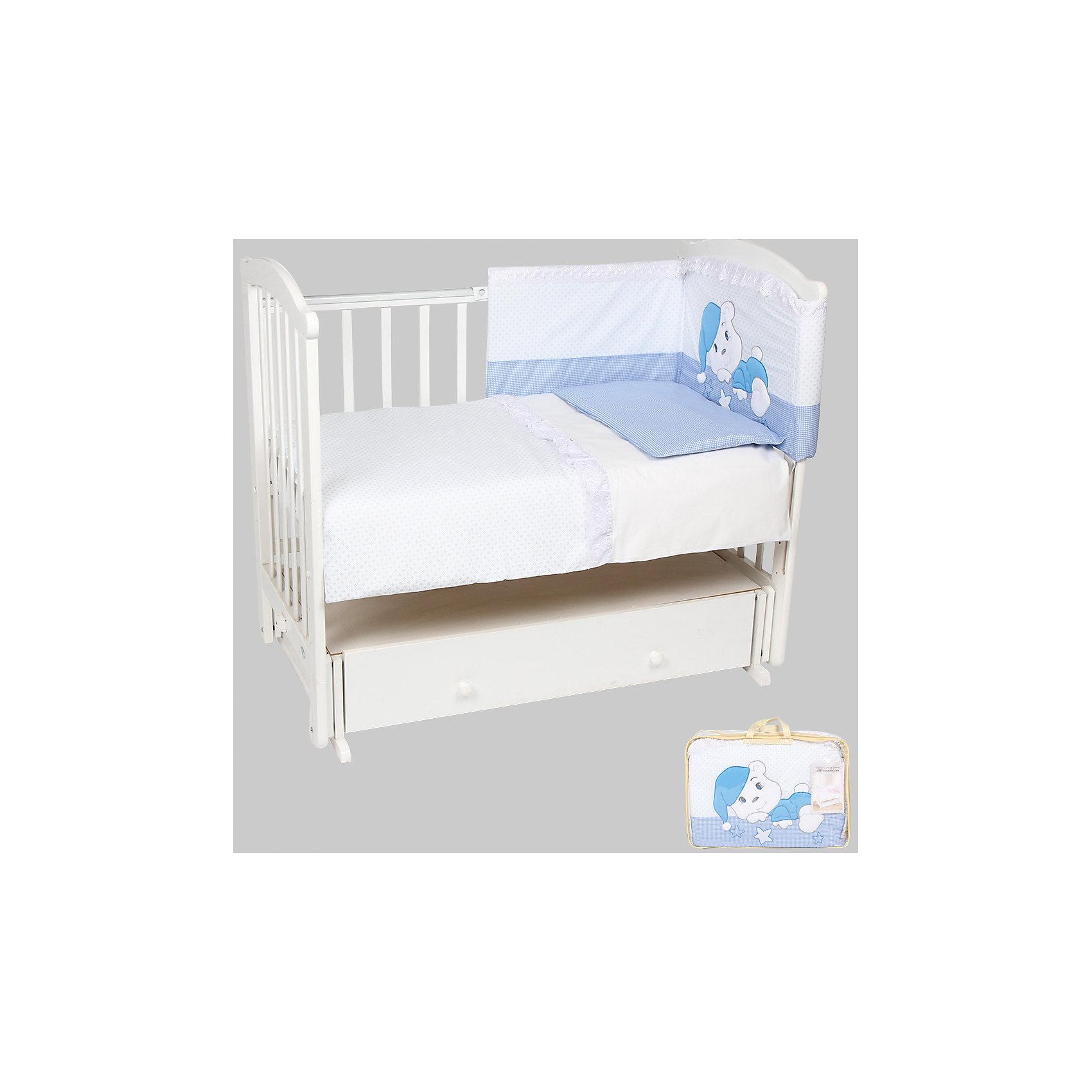 Постельное белье Мечтатели 7 пред., Leader kids, бязь, голубойПостельное бельё<br>Правильно подобранное постельное белье - это залог крепкого сна ребенка и его хорошего самочувствия. Но постельное белье может при этом быть еще и красивым!<br>Этот набор выполнен из высококачественного гипоаллергенного материала - хлопка. Он приятен на ощупь, позволяет коже дышать, безопасен для детей. В этот комплект входят семь предметов для удобного сна и декорирования кроватки (бампер, одеяло, подушка, балдахин, наволочка, пододеяльник, простыня на резинке). Размер их - стандартный, всё удобно заправляется. Изделие имеет приятную расцветку, декорировано симпатичным принтом. Подойдет к интерьеру различной расцветки.<br><br>Дополнительная информация:<br><br>материал: бязь (хлопок 100%);<br>комплектация: 7 предметов;<br>бампер: 360x40 см;<br>одеяло: 90х120 см;<br>подушка: 40х60 см;<br>балдахин: 420х165 см - вуаль;<br>наволочка: 40x60 см;<br>пододеяльник: 90x120 см;<br>простыня на резинке: 90x150 см;<br>цвет: голубой.<br><br>Постельное белье Мечтатели 7 пред. от компании Leader kids можно купить в нашем магазине.<br><br>Ширина мм: 650<br>Глубина мм: 200<br>Высота мм: 500<br>Вес г: 3700<br>Возраст от месяцев: 0<br>Возраст до месяцев: 36<br>Пол: Мужской<br>Возраст: Детский<br>SKU: 4778559