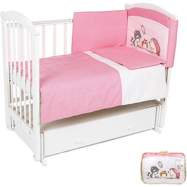 Постельное белье Енот 7 пред., Leader kids, бязь, розовыйПостельное белье в кроватку новорождённого<br>Удобное правильно подобранное постельное белье - это залог крепкого сна ребенка и его хорошего самочувствия. Но постельное белье может при этом быть еще и красивым!<br>Этот набор выполнен из высококачественного гипоаллергенного материала - хлопка. Он приятен на ощупь, позволяет коже дышать, безопасен для детей. В этот комплект входят семь предметов для удобного сна и декорирования кроватки (бампер, одеяло, подушка, балдахин, наволочка, пододеяльник, простыня на резинке). Размер их - стандартный, всё удобно заправляется. Изделие имеет приятную расцветку, декорировано симпатичным принтом. Подойдет к интерьеру различной расцветки.<br><br>Дополнительная информация:<br><br>материал: бязь (хлопок 100%);<br>комплектация: 7 предметов;<br>бампер: 360x40 см;<br>одеяло: 90х120 см;<br>подушка: 40х60 см;<br>балдахин: 420х165 см - вуаль;<br>наволочка: 40x60 см;<br>пододеяльник: 90x120 см;<br>простыня на резинке: 90x150 см;<br>цвет: розовый.<br><br>Постельное белье Енот 7 пред. от компании Leader kids можно купить в нашем магазине.<br>Ширина мм: 650; Глубина мм: 200; Высота мм: 500; Вес г: 3700; Возраст от месяцев: 0; Возраст до месяцев: 36; Пол: Женский; Возраст: Детский; SKU: 4778560;