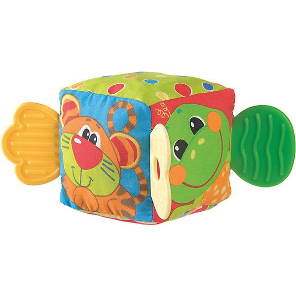 Мягкая игрушка Кубик, PlaygroРазвивающие игрушки<br>Яркий кубик не только развеселит малыша, но и поможет снять неприятные ощущения в период прорезывания зубок. На его сторонах изображены забавные животные: медведь, тигр, черепашка и жирафик. А внутри игрушки находится звонкая погремушка, которая обязательно привлечет внимание крохи.<br><br>Дополнительная информация:<br><br>- Возраст: от 3 месяцев до 2 лет<br>- Материал: текстиль, пластик<br>- Размер: 9х9х9 см<br>- Вес: 0.09 кг<br><br>Мягкую игрушку Кубик, Playgro можно купить в нашем интернет-магазине.<br>Ширина мм: 90; Глубина мм: 90; Высота мм: 90; Вес г: 90; Возраст от месяцев: 3; Возраст до месяцев: 24; Пол: Унисекс; Возраст: Детский; SKU: 4779533;