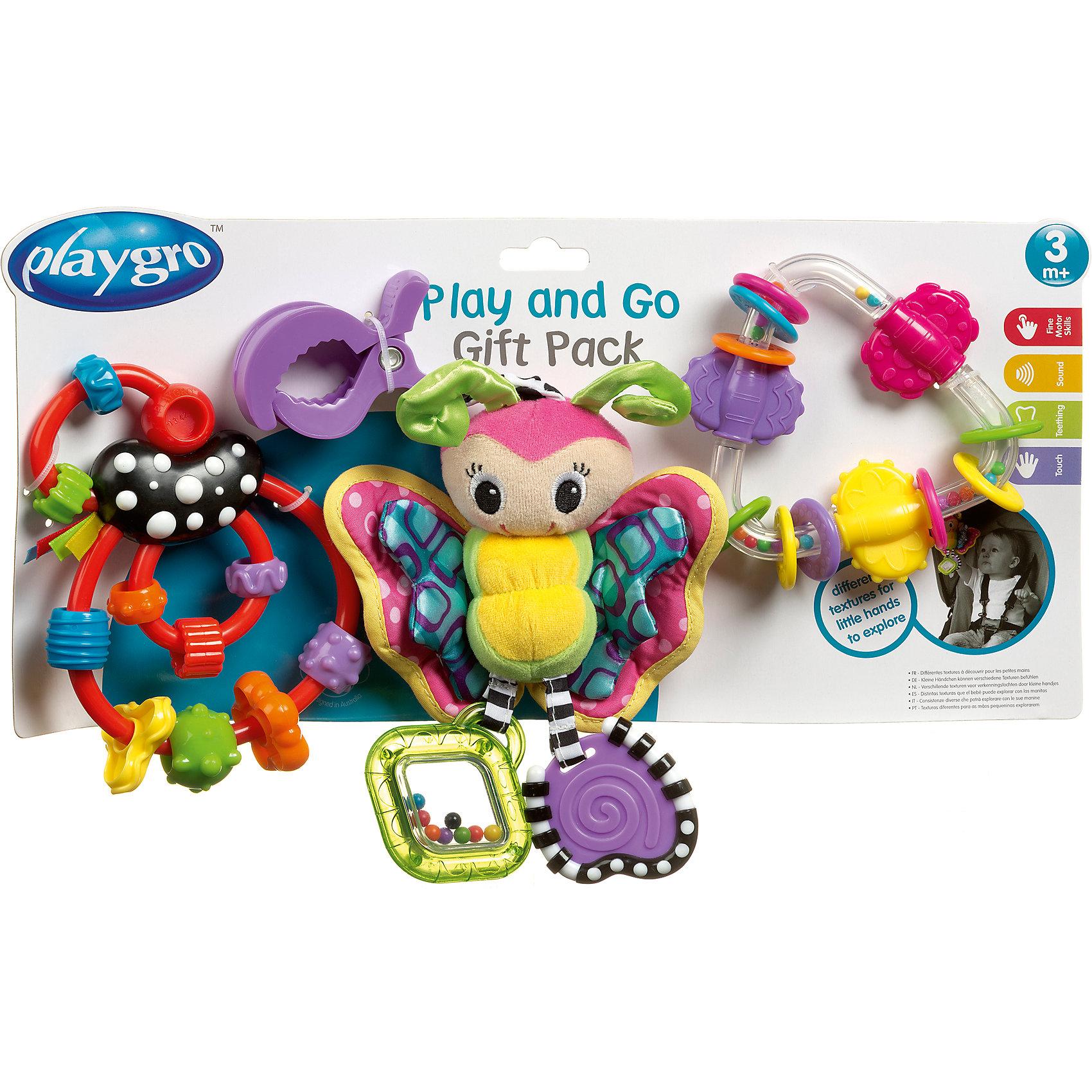 Игровой набор Подвеска + 2 погремушки, PlaygroС этим игровым набором Ваш малыш весело проведет время дома или на прогулке. В комплект входит яркая бабочка-погремушка, прорезыватель в виде треугольника, и интересный лабиринт из бусин. Прорезыватель поможет убрать боль во время роста зубов, а значит Ваш малыш будет более спокойным и счастливым.<br><br>Дополнительная информация:<br><br>- Возраст: от 3 месяцев до 2 лет<br>- В комплекте: бабочка-погремушка, прорезыватель треугольник, лабиринт с бусинами<br>- Материал: текстиль, пластик<br>- Размер: 18х33х4 см<br>- Вес: 0.25 кг<br><br>Игровой набор Подвеска + 2 погремушки, Playgro можно купить в нашем интернет-магазине.<br><br>Ширина мм: 180<br>Глубина мм: 335<br>Высота мм: 45<br>Вес г: 250<br>Возраст от месяцев: 3<br>Возраст до месяцев: 24<br>Пол: Женский<br>Возраст: Детский<br>SKU: 4779534