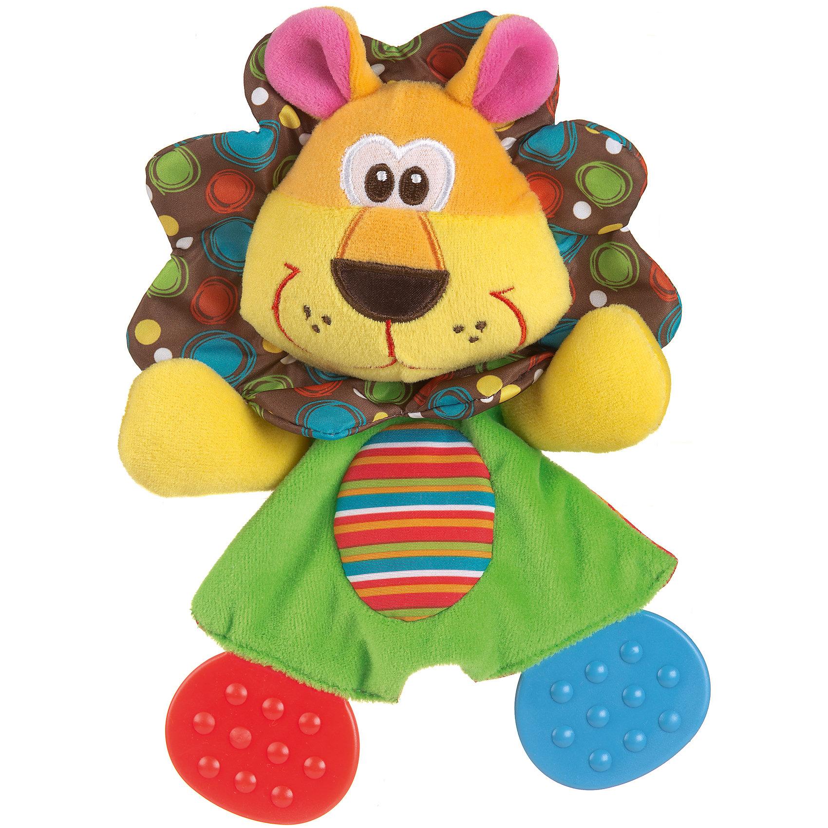 Мягкая игрушка Львенок, PlaygroПрорезыватели<br>Игрушка Львенок с прорезывателями предназначена для детей, у которых только-только начинают расти первые зубки. Она выполнена в виде симпатичного львенка, на лапках которого расположены два мягких прорезывателя. Игрушка изготовлена из качественных материалов, безопасных для здоровья ребенка.<br><br>Дополнительная информация:<br><br>- Возраст: от 3 месяцев до 2 лет<br>- Материал: текстиль, пластик<br>- Размер: 13х4х24 см<br>- Вес: 0.06 кг<br><br>Мягкую игрушку Львенок, Playgro можно купить в нашем интернет-магазине.<br><br>Ширина мм: 130<br>Глубина мм: 42<br>Высота мм: 240<br>Вес г: 60<br>Возраст от месяцев: 3<br>Возраст до месяцев: 24<br>Пол: Унисекс<br>Возраст: Детский<br>SKU: 4779540