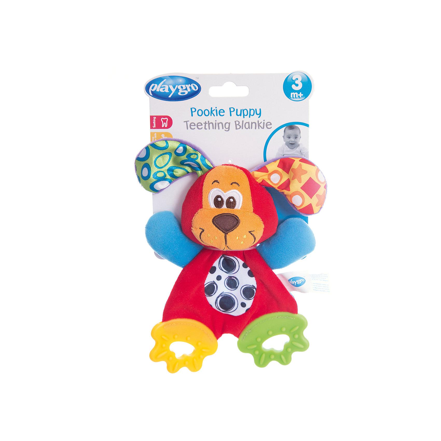 Мягкая игрушка Щенок, PlaygroМягкие игрушки животные<br>С этим милым щенком можно не только играть как с мягкой игрушкой, но и использовать как прорезыватель. На его лапках расположены мягкие грызунки, которые снимут неприятные ощущения во время роста зубов. Так же игрушка будет развивать мелкую моторику и визуальное восприятие ребенка.<br><br>Дополнительная информация:<br><br>- Возраст: от 3 месяцев до 2 лет<br>- Материал: текстиль, пластик<br>- Размер: 13х4х24 см<br>- Вес: 0.06 кг<br><br>Мягкую игрушку Щенок, Playgro можно купить в нашем интернет-магазине.<br><br>Ширина мм: 130<br>Глубина мм: 42<br>Высота мм: 240<br>Вес г: 60<br>Возраст от месяцев: 3<br>Возраст до месяцев: 24<br>Пол: Унисекс<br>Возраст: Детский<br>SKU: 4779542