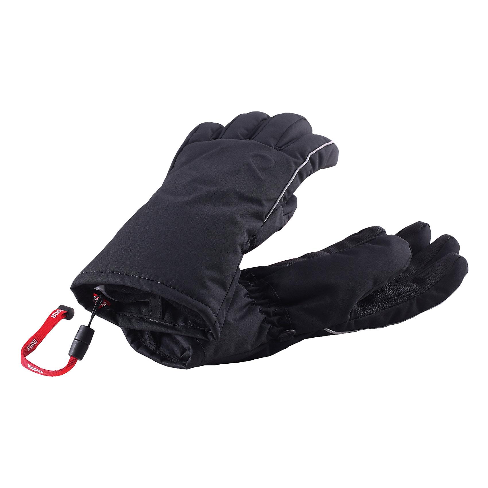 Перчатки Lentoon Reimatec® ReimaПерчатки и варежки<br>Перчатки  Reimatec® Reima<br>Зимние перчатки для детей. Полная водонепроницаемость и «дышащая» способность благодаря вставке Hipora. Водо- и ветронепроницаемый и грязеотталкивающий материал. Накладки на ладонях, кончиках пальцев и больших пальцах. Завязки во всех размерах снабжены ограничителями. Мягкая теплая подкладка из флиса. Утеплитель PrimaLoft®. Аппликация.<br>Утеплитель: PrimaLoft® silver insulation,133g<br>Уход:<br>Стирать по отдельности. Застегнуть липучки. Стирать моющим средством, не содержащим отбеливающие вещества. Полоскать без специального средства. Можно сушить в сушильном шкафу или центрифуге (макс. 40° C).<br>Состав:<br>100% Полиамид, полиуретановое покрытие<br><br>Ширина мм: 162<br>Глубина мм: 171<br>Высота мм: 55<br>Вес г: 119<br>Цвет: черный<br>Возраст от месяцев: 48<br>Возраст до месяцев: 72<br>Пол: Унисекс<br>Возраст: Детский<br>Размер: 4,8,5,6,7<br>SKU: 4779719