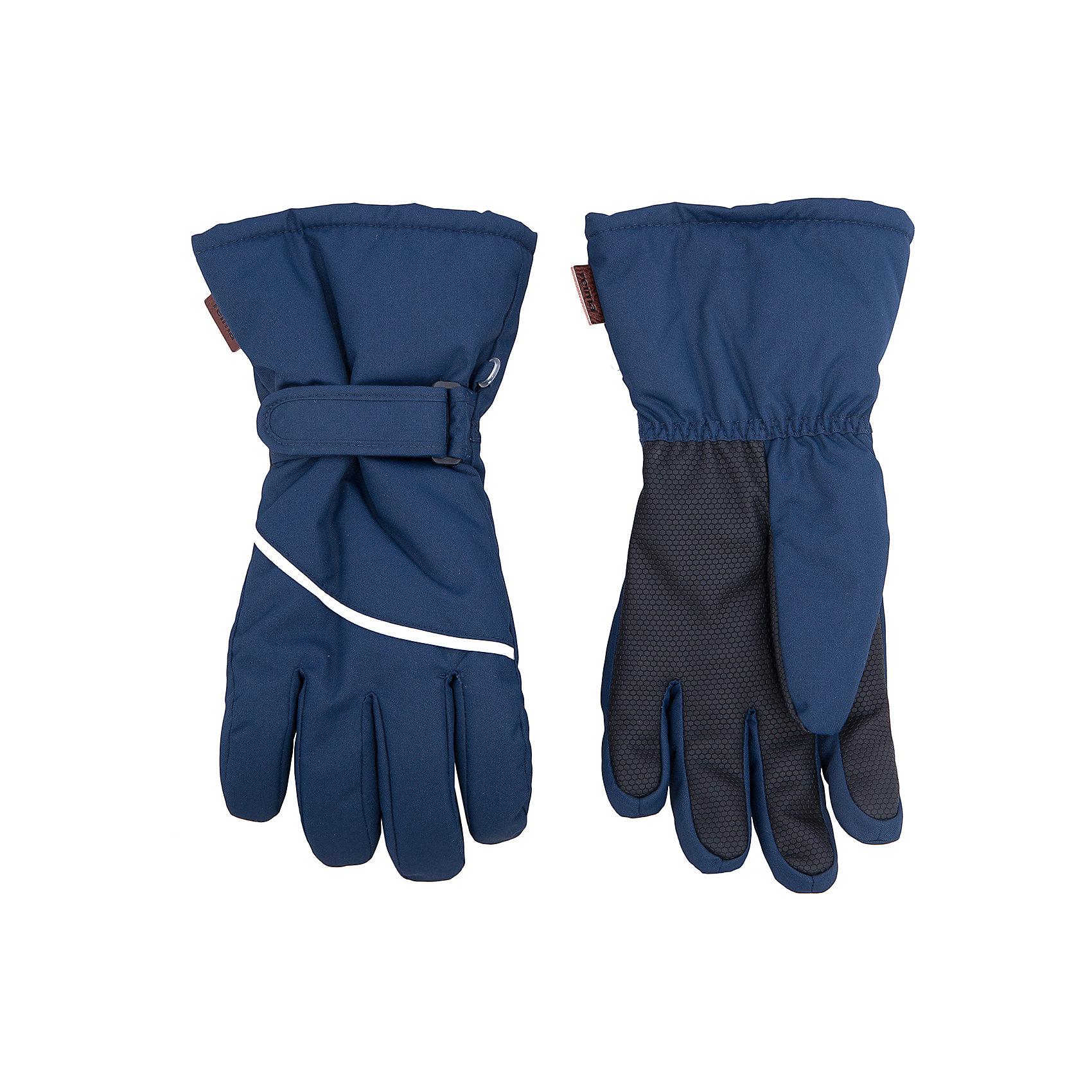 Перчатки Harald для мальчика ReimaПерчатки, варежки<br>Перчатки  Reima<br>Зимние перчатки для детей. Водонепроницаемый материал, вставки отсутствуют — товар не является водонепроницаемым. Водо- и ветронепроницаемый и грязеотталкивающий материал. Накладки на ладонях, кончиках пальцев и больших пальцах. Теплая ворсистая подкладка из ткани из смеси шерсти. Средняя степень утепления. Простая застежка на липучке. Логотип Reima® сбоку. Светоотражающие полосы.<br>Утеплитель: Reima® Comfortinsulation,80 g<br>Уход:<br>Стирать по отдельности. Стирать моющим средством, не содержащим отбеливающие вещества. Полоскать без специального средства. Сушить при низкой температуре. <br>Состав:<br>100% Полиамид, полиуретановое покрытие<br><br>Ширина мм: 162<br>Глубина мм: 171<br>Высота мм: 55<br>Вес г: 119<br>Цвет: синий<br>Возраст от месяцев: 144<br>Возраст до месяцев: 168<br>Пол: Мужской<br>Возраст: Детский<br>Размер: 8,7,3,4,5,6<br>SKU: 4779778