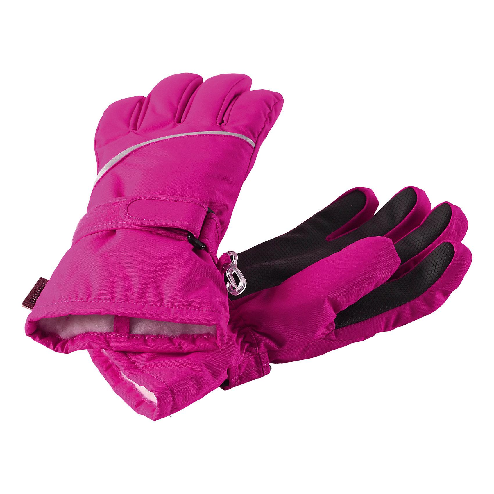 Перчатки Harald для девочки ReimaПерчатки  Reima<br>Зимние перчатки для детей. Водонепроницаемый материал, вставки отсутствуют — товар не является водонепроницаемым. Водо- и ветронепроницаемый и грязеотталкивающий материал. Накладки на ладонях, кончиках пальцев и больших пальцах. Теплая ворсистая подкладка из ткани из смеси шерсти. Средняя степень утепления. Простая застежка на липучке. Логотип Reima® сбоку. Светоотражающие полосы.<br>Утеплитель: Reima® Comfortinsulation,80 g<br>Уход:<br>Стирать по отдельности. Стирать моющим средством, не содержащим отбеливающие вещества. Полоскать без специального средства. Сушить при низкой температуре. <br>Состав:<br>100% Полиамид, полиуретановое покрытие<br><br>Ширина мм: 162<br>Глубина мм: 171<br>Высота мм: 55<br>Вес г: 119<br>Цвет: розовый<br>Возраст от месяцев: 96<br>Возраст до месяцев: 120<br>Пол: Женский<br>Возраст: Детский<br>Размер: 6,7,8,3,4,5<br>SKU: 4779792