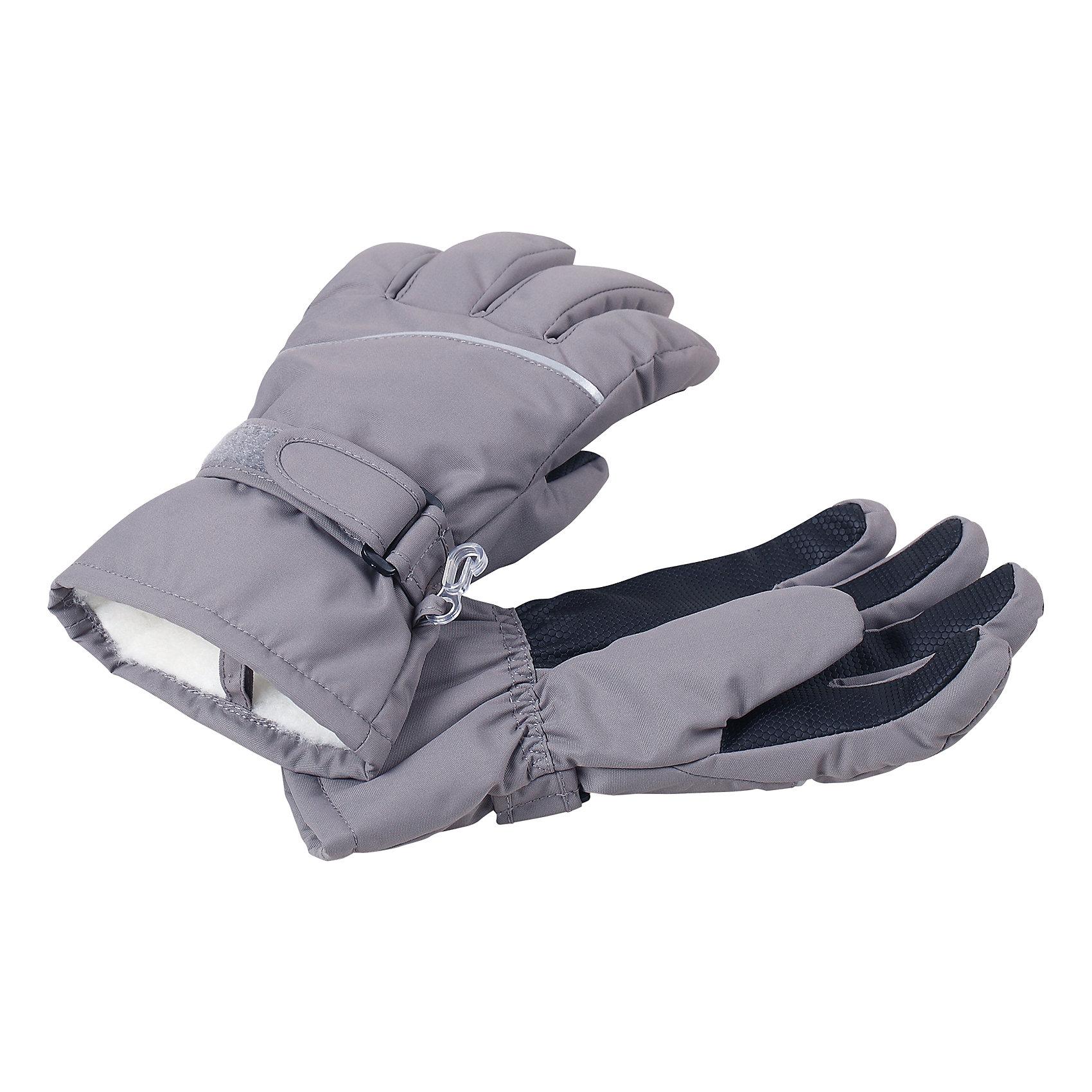 Перчатки Harald ReimaПерчатки  Reima<br>Зимние перчатки для детей. Водонепроницаемый материал, вставки отсутствуют — товар не является водонепроницаемым. Водо- и ветронепроницаемый и грязеотталкивающий материал. Накладки на ладонях, кончиках пальцев и больших пальцах. Теплая ворсистая подкладка из ткани из смеси шерсти. Средняя степень утепления. Простая застежка на липучке. Логотип Reima® сбоку. Светоотражающие полосы.<br>Утеплитель: Reima® Comfortinsulation,80 g<br>Уход:<br>Стирать по отдельности. Стирать моющим средством, не содержащим отбеливающие вещества. Полоскать без специального средства. Сушить при низкой температуре. <br>Состав:<br>100% Полиамид, полиуретановое покрытие<br><br>Ширина мм: 162<br>Глубина мм: 171<br>Высота мм: 55<br>Вес г: 119<br>Цвет: серый<br>Возраст от месяцев: 144<br>Возраст до месяцев: 168<br>Пол: Унисекс<br>Возраст: Детский<br>Размер: 8,3,4,5,6,7<br>SKU: 4779799