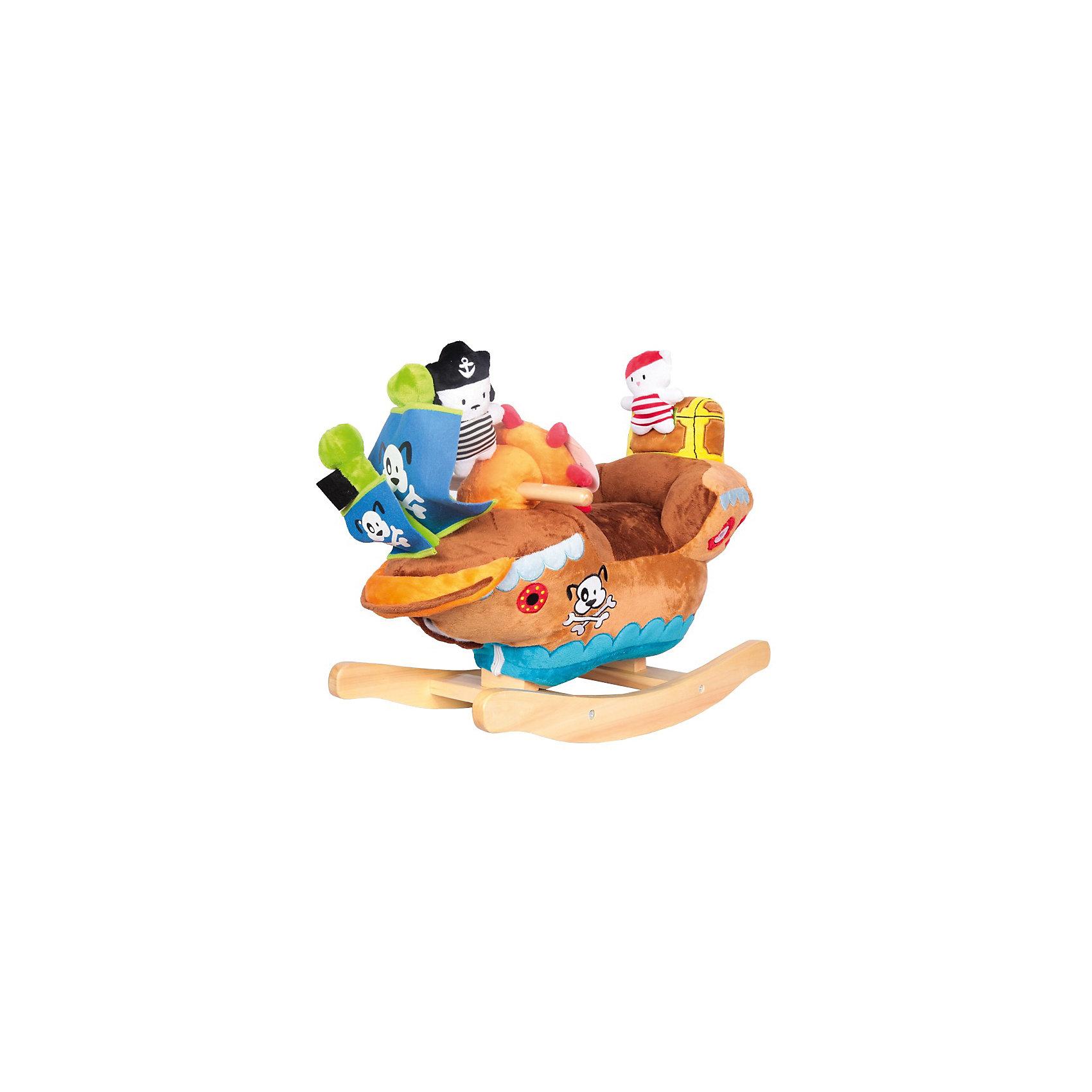 Качалка Пиратский корабль, AltactoРебёнок почувствует себя настоящим капитаном пиратского корабля, сидя на качалке Altacto. Держась за деревянные ручки или за руль, малыш будет представлять, как покоряет морские просторы. А чтобы путешествие стало более весёлым, можно включить музыку, нажав на руль, или поиграть с игрушкой-погремушкой и пищалкой. <br><br>Сиденье качалки обеспечивает комфортное положение ребёнка и поддерживает спину во время игры. <br><br>Материалы, из которых изготовлена качалка, качественные и приятные на ощупь.<br><br>Качаясь, ребёнок развивает вестибулярный аппарат, ловкость и координацию движений.<br><br>Работает от батареек (идут в комплекте).<br><br>Ширина мм: 620<br>Глубина мм: 295<br>Высота мм: 440<br>Вес г: 4100<br>Возраст от месяцев: 12<br>Возраст до месяцев: 36<br>Пол: Мужской<br>Возраст: Детский<br>SKU: 4779834