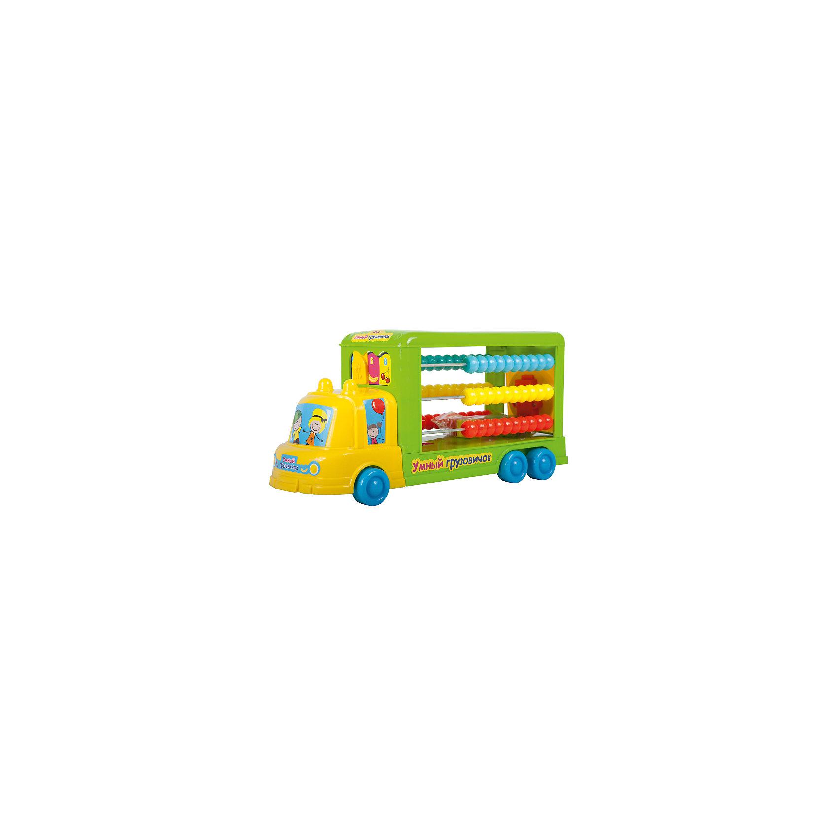 Cортер-каталка Умный грузовичок (счеты, 8 деталей), BebelotСортеры<br>Cортер-каталка Умный грузовичок (счеты, 8 деталей), Bebelot<br><br>Характеристики:<br><br>• Материал: пластик<br>• Возраст: от 3 лет<br>• Размер: 41x14x20 см<br><br>Сортер-каталка это универсальная игрушка, которая сможет с помощью игры научить ребенка цветам, счету и форме. Сзади автобуса специальное поле, в которое ребенок сможет вкладывать детали, сравнивая их по форме. Сбоку же – настоящие счеты, раскрашенные в разные цвета. А легкий ход колесиков поможет ребенку еще и вдоволь поиграть в игрушку, а не только заниматься.<br><br>Cортер-каталка Умный грузовичок (счеты, 8 деталей), Bebelot можно купить в нашем интернет-магазине.<br><br>Ширина мм: 415<br>Глубина мм: 145<br>Высота мм: 200<br>Вес г: 778<br>Возраст от месяцев: 36<br>Возраст до месяцев: 72<br>Пол: Унисекс<br>Возраст: Детский<br>SKU: 4779841