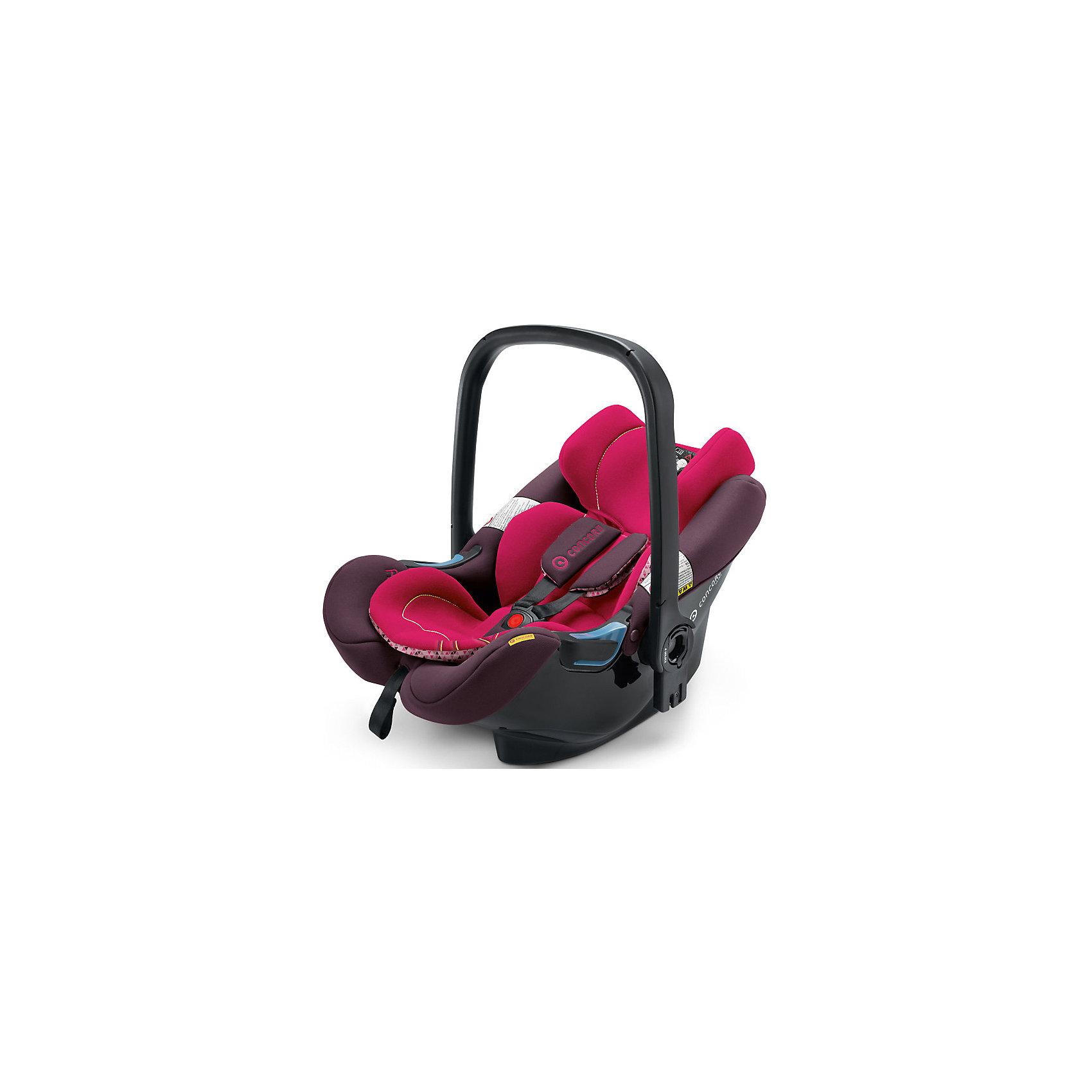 Автокресло Concord Air.Safe, 0-13кг, Rose Pink 2016Группа 0+ (До 13 кг)<br>Автокресло Air.Safe, 0-13кг., Concord, Rose Pink 2016 - модель, отличающаяся малым весом, высоким качеством и усиленной боковой защитой.<br>Автокресло Air.Safe, Concord – лучшая гарантия безопасности Вашего малыша время поездок в автомобиле. Вес автокресла составляет всего 2,9 кг, что является практически рекордом в своем классе. Сотовая структура каркаса автокресла обеспечивает максимально возможную прочность, а вентиляционные отверстия в корпусе кресла гарантируют оптимальный микроклимат. Высокие прочные боковые стенки обеспечивают надежную защиту малыша от боковых ударов. Сиденье автокресла выполнено в виде глубокой эргономичной чаши, благодаря чему положение Вашего малыша будет абсолютно естественным и комфортным. Подголовник имеет 3 положения по высоте. 3-х точечные ремни безопасности с мягкими накладками регулируются одновременно с подголовником. Длина ремней регулируется нажатием одной кнопки на передней части автокресла. Специальный мягкий вкладыш поддерживает область таза малыша. Ручку для переноски можно зафиксировать в нескольких положениях. Имеется встроенный козырек от солнца (UV50+) с водоотталкивающим покрытием. Автокресло устанавливается только против хода движения автомобиля. Крепится с помощью трехточечного ремня безопасности автомобиля (для безопасности и удобства все места, где должен правильно проходить фиксирующий ремень, выполнены специально из синего пластика). Для большей степени безопасности, для автокресла предусмотрена платформа (база Isofix – приобретается отдельно) - Concord AirFix Base. Однако и без базы кресло показывает отличный результат по безопасности на краш-тестах ADAC. Благодаря удобной изогнутой форме, автокресло можно использовать как шезлонг дома.<br><br>Дополнительная информация:<br><br>- Группа 0+ (0-13 кг)<br>- Размер: 63х44х57 см.<br>- Вес: 2,9 кг.<br>- Обивка: мягкий дышащий гипоаллергенный материал<br>- Устанавливается на рамы колясок от Concord
