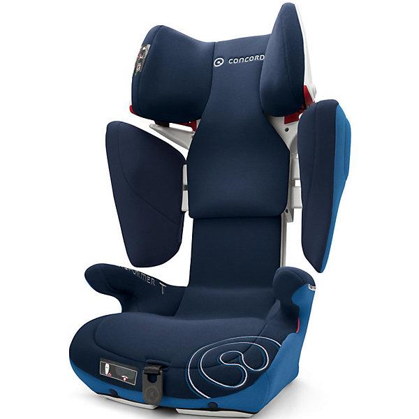 Автокресло Concord Transformer T, 15-36 кг, Ocean Blue 2016Группа 2-3  (от 15 до 36 кг)<br>Безопасное, комфортное автомобильное кресло Transformer T, Concord отличается современным дизайном, прочной подуманной конструкцией и системой регулировок. Компактная форма ракушки, объемные боковины, защитный корпус с двойными стенками обеспечивают исключительную безопасность и оптимальную защиту в случае бокового удара. Мягкие большие подлокотники, мягкое сидение, дополнительная смягчающая сиденье вставка идеально подходят для комфортного путешествия. За счёт использования пневмо-механизма увеличить высоту подголовника (20 положений)  и расширить боковины можно нажатием на одну кнопку. Автокресло крепится в автомобиле с помощью штатного ремня безопасности автомобиля к скобам Isofix автомобиля. Красные направляющие позволят правильно расположить ремни. Направляющие автомобильного ремня в подголовнике пропускают ремень только в одну сторону, исключая его самопроизвольное выпадение. В автокреслах Transformer T, Concord использована концепция TRIZONE, за счет которой сочетаются разные типы тканей обивки. В нижней части кресла используются износостойкие материалы, в средней части используются материалы большой пропускной способности, для обеспечения хорошей вентиляции, в местах соприкосновения с кожей ребенка используется мягкая и деликатная ткань. Обивка из высококачественных материалов, легко снимается и стирается в режиме деликатной стирки при температуре 30 градусах.<br><br>Дополнительная информация:<br><br>- Группа 2-3 от 3 до 12 лет (15-36 кг)<br>- Размер в минимальной позиции: 46 х 49 х 62 см.<br>- Размер в максимальной позиции: 46 х 55 х 82 см.<br>- Вес: 7,7 кг.<br>- Направление установки: по ходу движения автомобиля<br>- Соответствует стандарту ECE R 44/04<br>- Автокресло Transformer T Concord по результатам испытаний Eurotest, проводимых Stiftung Warentest, а также организациями ?AMTC и ADAC (ведущие организации, проверяющие надежность и качество детских автомобильных к
