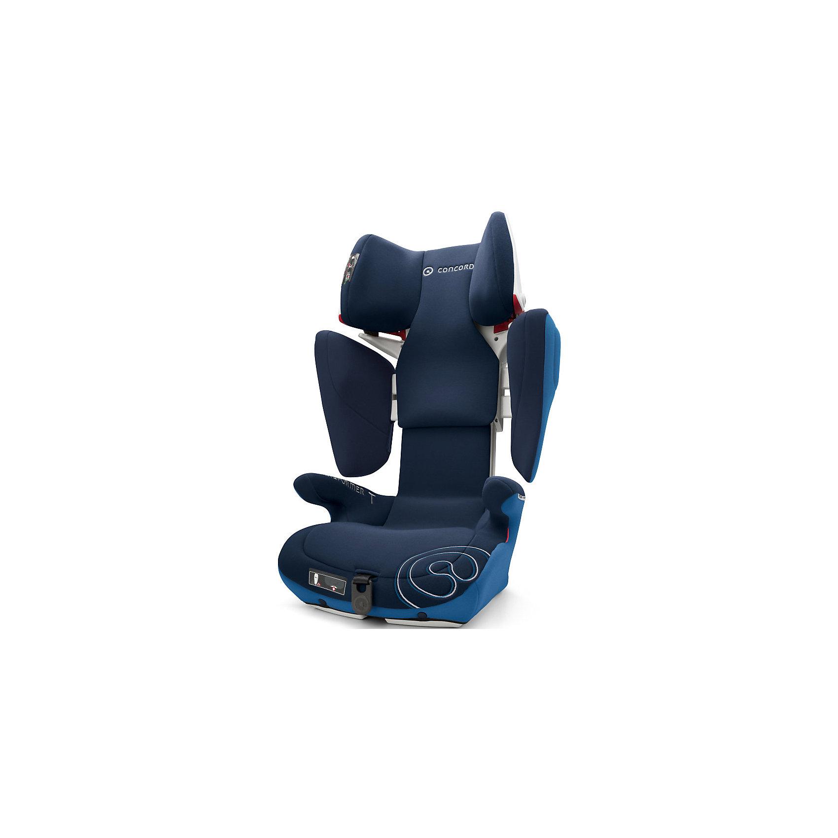 Автокресло Concord Transformer T, 15-36 кг, Ocean Blue 2016Группа 2-3 (От 15 до 36 кг)<br>Безопасное, комфортное автомобильное кресло Transformer T, Concord отличается современным дизайном, прочной подуманной конструкцией и системой регулировок. Компактная форма ракушки, объемные боковины, защитный корпус с двойными стенками обеспечивают исключительную безопасность и оптимальную защиту в случае бокового удара. Мягкие большие подлокотники, мягкое сидение, дополнительная смягчающая сиденье вставка идеально подходят для комфортного путешествия. За счёт использования пневмо-механизма увеличить высоту подголовника (20 положений)  и расширить боковины можно нажатием на одну кнопку. Автокресло крепится в автомобиле с помощью штатного ремня безопасности автомобиля к скобам Isofix автомобиля. Красные направляющие позволят правильно расположить ремни. Направляющие автомобильного ремня в подголовнике пропускают ремень только в одну сторону, исключая его самопроизвольное выпадение. В автокреслах Transformer T, Concord использована концепция TRIZONE, за счет которой сочетаются разные типы тканей обивки. В нижней части кресла используются износостойкие материалы, в средней части используются материалы большой пропускной способности, для обеспечения хорошей вентиляции, в местах соприкосновения с кожей ребенка используется мягкая и деликатная ткань. Обивка из высококачественных материалов, легко снимается и стирается в режиме деликатной стирки при температуре 30 градусах.<br><br>Дополнительная информация:<br><br>- Группа 2-3 от 3 до 12 лет (15-36 кг)<br>- Размер в минимальной позиции: 46 х 49 х 62 см.<br>- Размер в максимальной позиции: 46 х 55 х 82 см.<br>- Вес: 7,7 кг.<br>- Направление установки: по ходу движения автомобиля<br>- Соответствует стандарту ECE R 44/04<br>- Автокресло Transformer T Concord по результатам испытаний Eurotest, проводимых Stiftung Warentest, а также организациями ?AMTC и ADAC (ведущие организации, проверяющие надежность и качество детских автомобильных кр