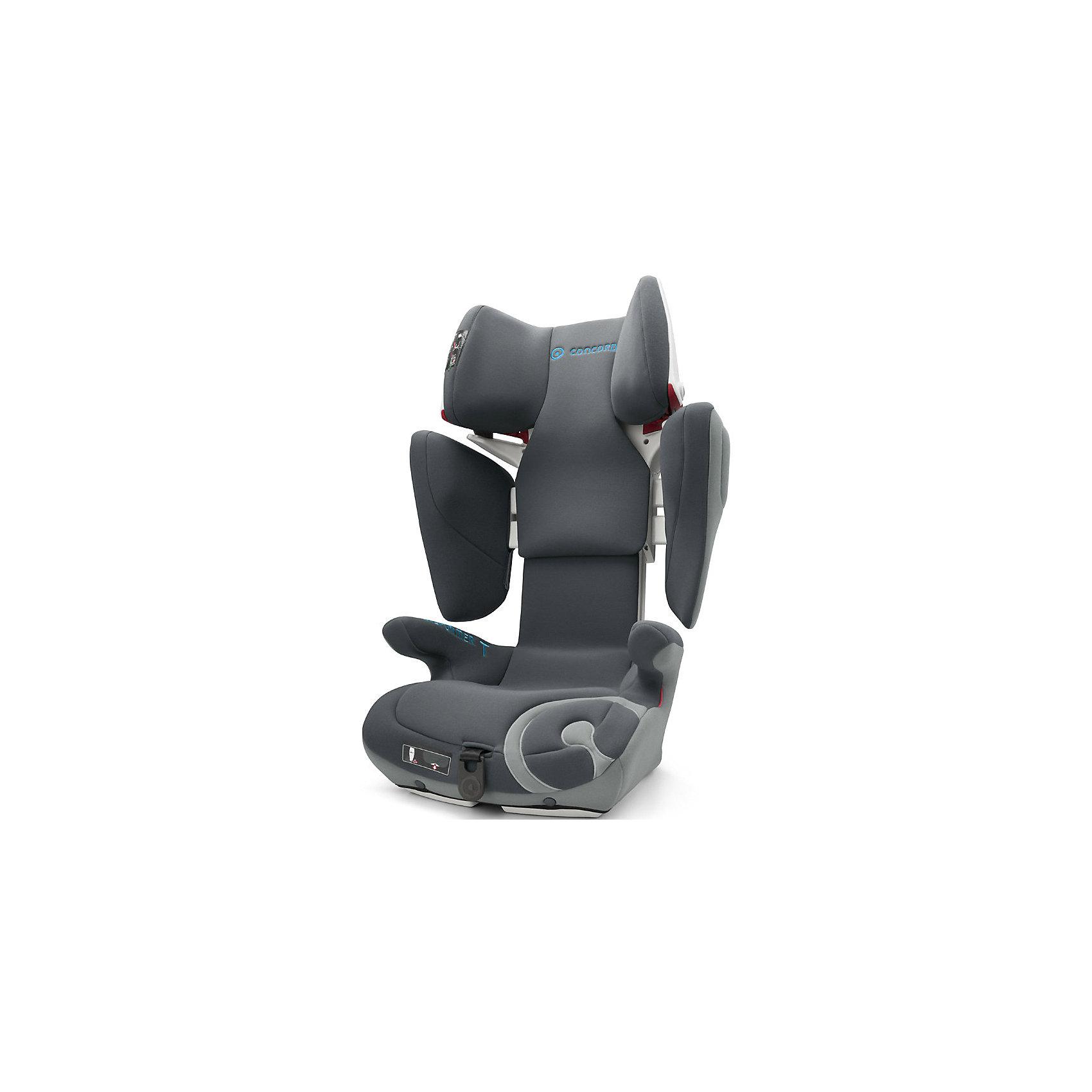 Автокресло Transformer T, 15-36 кг., Concord, Stone GreyБезопасное, комфортное автомобильное кресло Transformer T, Concord отличается современным дизайном, прочной подуманной конструкцией и системой регулировок. Компактная форма ракушки, объемные боковины, защитный корпус с двойными стенками обеспечивают исключительную безопасность и оптимальную защиту в случае бокового удара. Мягкие большие подлокотники, мягкое сидение, дополнительная смягчающая сиденье вставка идеально подходят для комфортного путешествия. За счёт использования пневмо-механизма увеличить высоту подголовника (20 положений)  и расширить боковины можно нажатием на одну кнопку. Автокресло крепится в автомобиле с помощью штатного ремня безопасности автомобиля к скобам Isofix автомобиля. Красные направляющие позволят правильно расположить ремни. Направляющие автомобильного ремня в подголовнике пропускают ремень только в одну сторону, исключая его самопроизвольное выпадение. В автокреслах Transformer T, Concord использована концепция TRIZONE, за счет которой сочетаются разные типы тканей обивки. В нижней части кресла используются износостойкие материалы, в средней части используются материалы большой пропускной способности, для обеспечения хорошей вентиляции, в местах соприкосновения с кожей ребенка используется мягкая и деликатная ткань. Обивка из высококачественных материалов, легко снимается и стирается в режиме деликатной стирки при температуре 30 градусах.<br><br>Дополнительная информация:<br><br>- Группа 2-3 от 3 до 12 лет (15-36 кг)<br>- Размер в минимальной позиции: 46 х 49 х 62 см.<br>- Размер в максимальной позиции: 46 х 55 х 82 см.<br>- Вес: 7,7 кг.<br>- Направление установки: по ходу движения автомобиля<br>- Соответствует стандарту ECE R 44/04<br>- Автокресло Transformer T Concord по результатам испытаний Eurotest, проводимых Stiftung Warentest, а также организациями ?AMTC и ADAC (ведущие организации, проверяющие надежность и качество детских автомобильных кресел) является победителем в своей