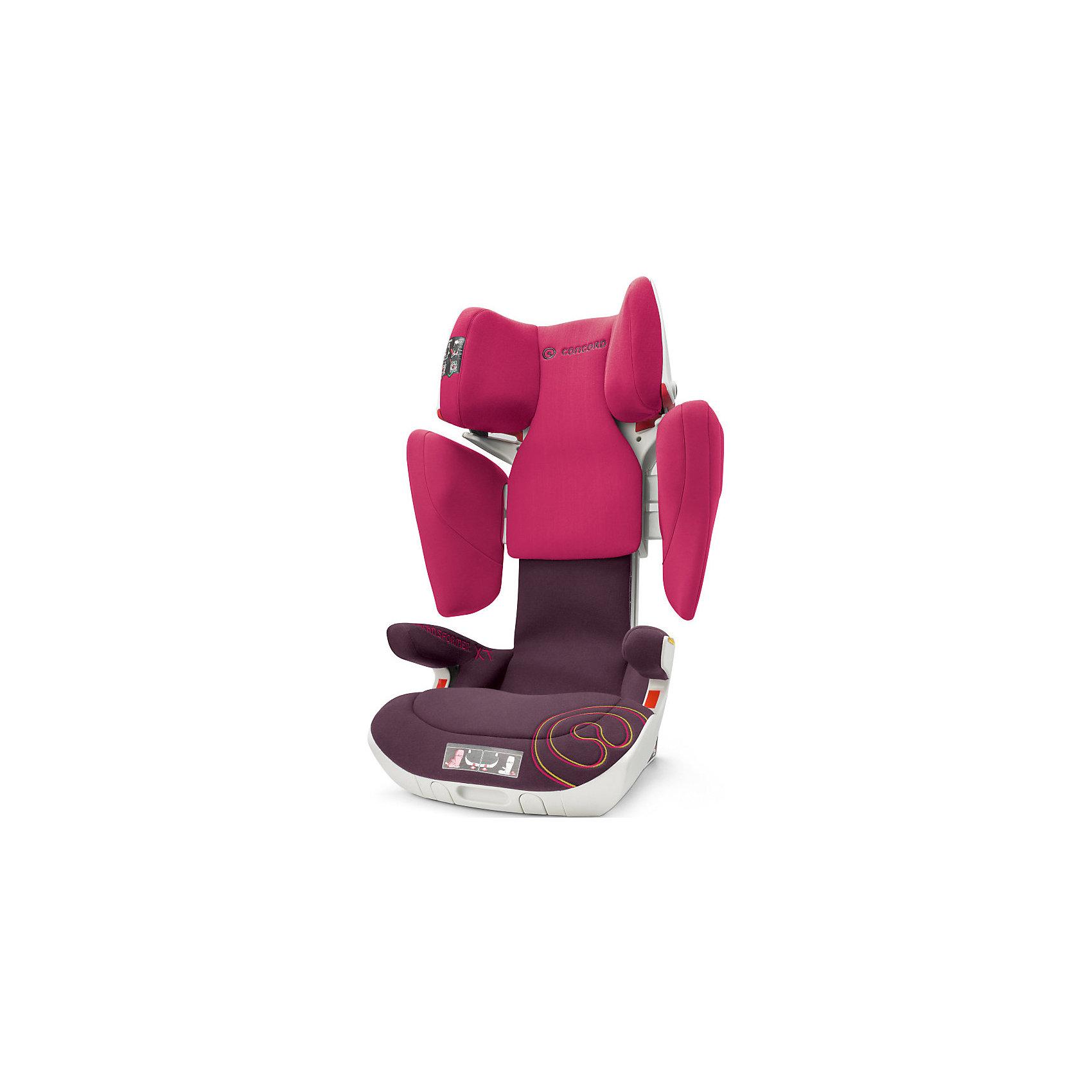 Автокресло Concord Transformer XT, 15-36 кг, Rose Pink 2016Группа 2-3 (От 15 до 36 кг)<br>Характеристики автокресла:<br><br>• группа 2-3;<br>• возраст ребенка: от 3 до 12 лет;<br>• вес ребенка: 15-36 кг;<br>• способ установки: по ходу движения автомобиля;<br>• 2 способа крепления: система TWINFIX или штатные ремни безопасности;<br>• компактный ударопрочный каркас;<br>• защита от боковых ударов;<br>• регулировка наклона спинки;<br>• регулировка подголовника;<br>• регулировка размера кресла;<br>• ортопедические свойства спинки и основания;<br>• встроенный пневмопривод;<br>• размер автокресла: 46х49х62 см;<br>• высота подголовника: 62-82 см;<br>• вес автокресла: 9,9 кг;<br>• вес в упаковке: 11 кг;<br>• материал: пластик, полиэстер;<br>• стандарт безопасности: ECE R44/04.<br><br>Автокресло Concord Transformer XT имеет прочный каркас, который надежно защищает ребенка во время поездки. Боковые подушки имеют дополнительный слой энергопоглощающей изоляции, которая понижает силу удара. Автокресло с ортопедической спинкой, которая способствует правильному формированию позвоночника. Наполнитель автокресла Трансформер ИксТи обладает эффектом памяти, который со временем принимает форму тела ребенка.<br><br>Установка автокресла: устанавливается по ходу движения с помощью системы isofix. Ребенок в автокресле фиксируется штатным ремнем автомобиля. При отсутствии крепления isofix можно установить автокресло при помощи штатных ремней безопасности. Направляющие с защелками для ремня в подголовнике исключают его самопроизвольное выпадение.<br><br>Автокресло Transformer XT, 15-36 кг., Concord, Rose Pink можно купить в нашем интернет-магазине.<br><br>Ширина мм: 450<br>Глубина мм: 450<br>Высота мм: 640<br>Вес г: 11000<br>Цвет: розовый<br>Возраст от месяцев: 36<br>Возраст до месяцев: 144<br>Пол: Женский<br>Возраст: Детский<br>SKU: 4779883