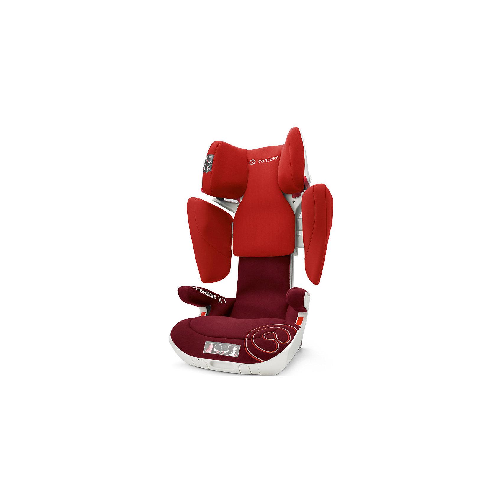 Автокресло Concord Transformer XT, 15-36 кг, Tomato Red 2016Автокресла с креплением Isofix<br>Автокресло Transformer XT, 15-36 кг., Concord, Tomato Red 2016 - современная модель, которая гарантирует максимальную безопасность ребенка.<br>Безопасное, комфортное автомобильное кресло Transformer XT, Concord отличается современным дизайном, прочной подуманной конструкцией и системой регулировок. Компактная форма, объемные боковины, защитный корпус с двойными стенками обеспечивают исключительную безопасность и оптимальную защиту в случае бокового удара. Сидение имеет вспененный наполнитель, адаптирующийся по форме тела. За счёт использования пневмо-механизма увеличить высоту подголовника и расширить боковины можно нажатием на одну кнопку. Пневморегулировка дополнительного наклона позволяет плавно перевести кресло в положение отдыха. Кресло крепиться к скобам isofix, ребёнок пристегивается ремнем безопасности автомобиля. Красные направляющие позволят правильно расположить ремни. Направляющие автомобильного ремня в подголовнике пропускают ремень только в одну сторону, исключая его самопроизвольное выпадение. В автокреслах Transformer XT, Concord использована концепция TRIZONE, за счет которой сочетаются разные типы тканей обивки. В нижней части кресла используются износостойкие материалы, в средней части используются материалы большой пропускной способности, для обеспечения хорошей вентиляции, в местах соприкосновения с кожей ребенка используется мягкая и деликатная ткань. Обивка из высококачественных материалов, легко снимается и стирается в режиме деликатной стирки при температуре 30 градусах..<br><br>Дополнительная информация:<br><br>- Группа 2-3 от 3 до 12 лет (15-36 кг)<br>- Размер в минимальной позиции: 46 х 49 х 62 см.<br>- Размер в максимальной позиции: 46 х 55 х 82 см.<br>- Вес: 7,7 кг.<br>- Направление установки: по ходу движения автомобиля<br>- Соответствует стандарту ECE R 44/04<br>- В независимых краш-тестах ADAC (Германия), ?AMTC (Австрия), Stiftung Warentest 