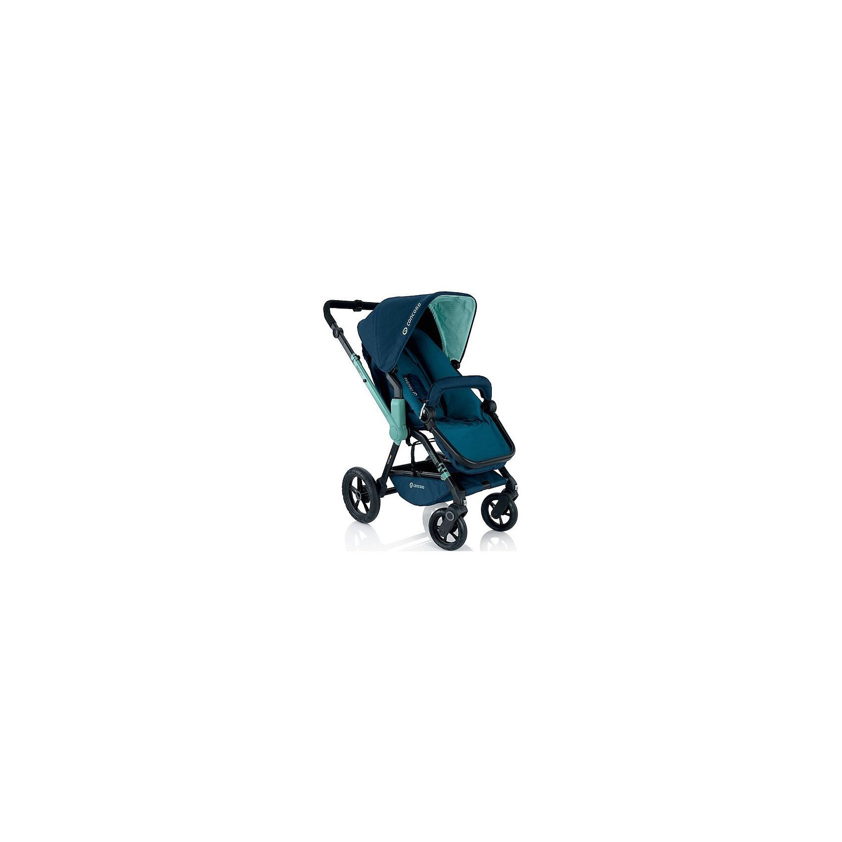 Прогулочная коляска Concord Wanderer, Aqua BlueПрогулочные коляски<br>Прогулочная коляска Wanderer, Concord, Aqua Blue<br><br>Характеристики коляски Concord Wanderer:<br><br>• возраст ребенка: от 6 месяцев до 3-х лет;<br>• вес ребенка: до 15 кг;<br>• количество положений спинки: 3, вплоть до горизонтального;<br>• наличие 5-ти точечных ремней безопасности с мягкими накладками;<br>• регулируемая подножка;<br>• реверсивный блок (возможность установить прогулочный блок как лицом к маме, так и лицом к окружающему миру);<br>• высота ручки коляски регулируется, тип ручки – цельная;<br>• перекидная ручка коляски;<br>• бампер съемный;<br>• чехлы съемные, допускается стирка при температуре 30 градусов;<br>• наличие амортизаторов делают ход коляски мягким и плавным;<br>• положение капюшона регулируется в 4-х положениях, предусмотрена УФ-защита 50+;<br>• колеса с подшипниками, передние поворотные с функцией блокировки, задние колеса большего диаметра;<br>• тип тормоза: ножной;<br>• тип складывания: книжка.<br><br>Прогулочная коляска Concord Wanderer имеет просторное прогулочное сиденье со спинкой, опускающейся до горизонтального положения, глубокий капюшон, съемный бампер. Прогулочный блок можно установить в 2-х положениях. Цельная ручка коляски регулируется по высоте. Колеса вращаются на 360 градусов, задние зафиксированы. <br><br>На шасси Concord можно установить люльку для новорожденного Concord Sleeper и детское автокресло Concord Air. <br><br>Обратите внимание: данные аксессуары приобретаются отдельно.<br><br>Размеры коляски Конкорд:<br><br>• ширина сиденья: 33 см;<br>• высота спинки: 45 см;<br>• длина спального места: 75 см;<br>• высота ручки: 73-102 см;<br>• размер коляски в разложенном виде: 104x60x102 см.<br>• размер в сложенном виде: 69x50x39 см.<br>• вес: 13,5 кг.<br><br>Комплектация: <br><br>• прогулочный блок с капюшоном и бампером;<br>• шасси с колесами;<br>• накидка на ножки;<br>• дождевик;<br>• инструкция. <br><br>Прогулочную коляску Wanderer, Concord, Aqua Blue