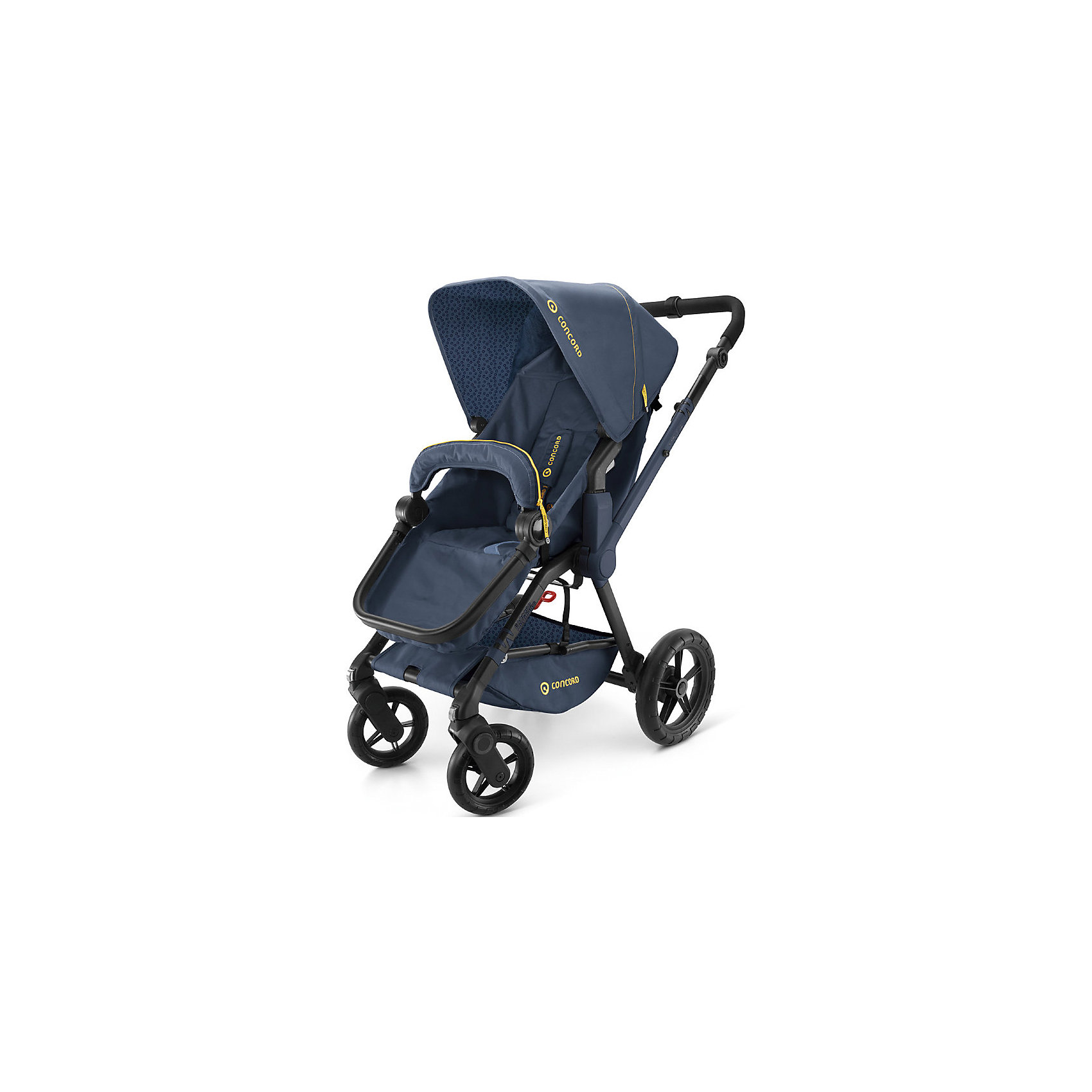 Прогулочная коляска Concord Wanderer, Denim BlueПрогулочные коляски<br>Прогулочная коляска Wanderer, Concord, Denim Blue<br><br>Характеристики коляски Concord Wanderer:<br><br>• возраст ребенка: от 6 месяцев до 3-х лет;<br>• вес ребенка: до 15 кг;<br>• количество положений спинки: 3, вплоть до горизонтального;<br>• наличие 5-ти точечных ремней безопасности с мягкими накладками;<br>• регулируемая подножка;<br>• реверсивный блок (возможность установить прогулочный блок как лицом к маме, так и лицом к окружающему миру);<br>• высота ручки коляски регулируется, тип ручки – цельная;<br>• перекидная ручка коляски;<br>• бампер съемный;<br>• чехлы съемные, допускается стирка при температуре 30 градусов;<br>• наличие амортизаторов делают ход коляски мягким и плавным;<br>• положение капюшона регулируется в 4-х положениях, предусмотрена УФ-защиту 50+;<br>• колеса с подшипниками, передние поворотные с функцией блокировки, задние колеса большего диаметра;<br>• тип тормоза: ножной;<br>• тип складывания: книжка.<br><br>Прогулочная коляска Concord Wanderer имеет просторное прогулочное сиденье со спинкой, опускающейся до горизонтального положения, глубокий капюшон, съемный бампер. Прогулочный блок можно установить в 2-х положениях. Цельная ручка коляски регулируется по высоте. Колеса вращаются на 360 градусов, задние зафиксированы. <br><br>На шасси Concord можно установить люльку для новорожденного Concord Sleeper и детское автокресло Concord Air. <br><br>Обратите внимание: данные аксессуары приобретаются отдельно.<br><br>Размеры коляски Конкорд:<br><br>• ширина сиденья: 33 см;<br>• высота спинки: 45 см;<br>• длина спального места: 75 см;<br>• высота ручки: 73-102 см;<br>• размер коляски в разложенном виде: 104x60x102 см.<br>• размер в сложенном виде: 69x50x39 см.<br>• вес: 13,5 кг.<br><br>Комплектация: <br><br>• прогулочный блок с капюшоном и бампером;<br>• шасси с колесами;<br>• накидка на ножки;<br>• дождевик;<br>• инструкция. <br><br>Прогулочную коляску Wanderer, Concord, Denim B