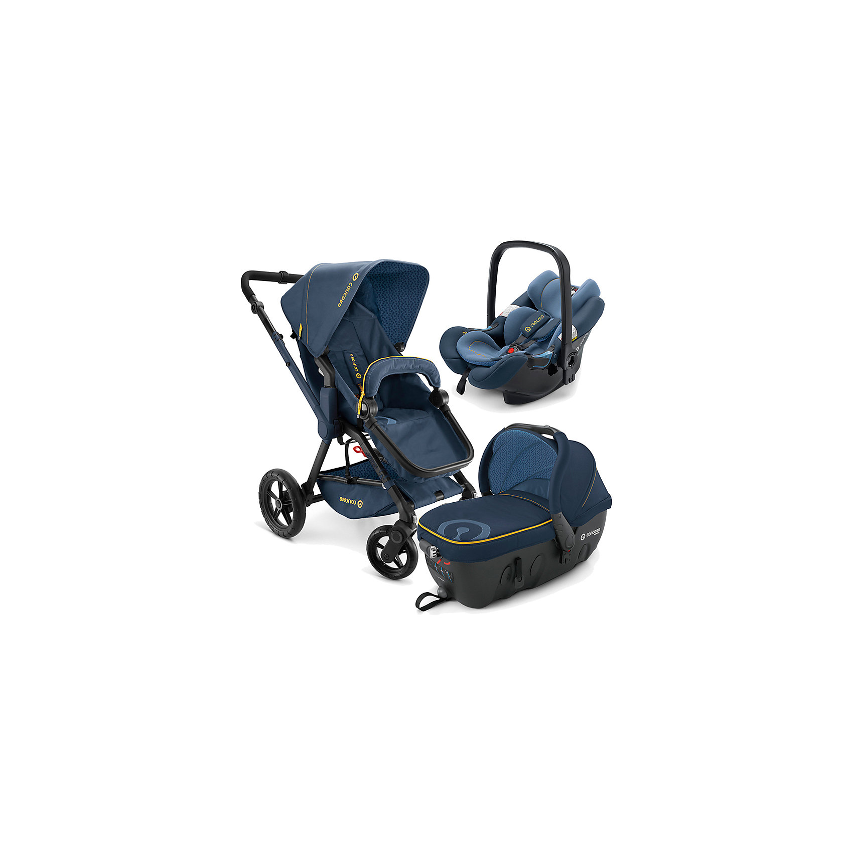 Коляска 3 в1 Wanderer Travel Set, Concord, Denim Blue 2015Характеристики коляски Concord Wanderer Travel Set для детей от рождения до 3-х лет<br><br>Люлька Concord Wanderer:<br><br>• пластиковый корпус с вентилируемыми отверстиями на дне;<br>• регулировка подголовника;<br>• хлопковый матрасик с чехлом, мягкий пояс на липучках;<br>• ручки для переноски люльки;<br>• обивка люльки съемная, стирка 30 градусов;<br>• крепится в автомобиле штатными ремнями безопасности;<br>• размер люльки: 88х44х62 см;<br>• вес: 6,3 кг.<br><br>Прогулочный блок:<br><br>• количество положений спинки: 3, вплоть до горизонтального;<br>• 5-ти точечные ремни безопасности с мягкими накладками;<br>• регулируемая подножка;<br>• реверсивный блок (лицом к маме, лицом к окружающему миру);<br>• бампер съемный;<br>• чехлы съемные, стирка 30 градусов;<br>• положение капюшона: 4 положения, УФ-защита 50+;<br>• ширина сиденья: 33 см;<br>• высота спинки: 45 см;<br>• длина спального места: 75 см;<br>• вес: 13,5 кг.<br><br>Автокресло Concord Air:<br><br>• группа: 0-0+;<br>• возраст ребенка: от рождения до 12 месяцев;<br>• вес ребенка: до 13 кг;<br>• способ установки: по ходу и против хода движения;<br>• способ крепления: штатные ремни безопасности автомобиля;<br>• встроенные 5-ти точечные ремни с мягкими накладками;<br>• защита от боковых ударов;<br>• вкладыш для новорожденного;<br>• съемные чехлы, стирка 30 градусов;<br>• размер автокресла: 63x44x57 см;<br>• вес: 2,9 кг.<br><br>Рама коляски: <br><br>• высота перекидной ручки коляски регулируется;<br>• амортизаторы, подшипники;<br>• передние поворотные колеса с функцией блокировки;<br>• ножной тормоз;<br>• тип складывания: книжка;<br>• высота ручки: 73-102 см;<br>• ширина колесной базы: 60 см;<br>• диаметр колес: 20 и 30 см.<br><br>Размеры коляски Конкорд:<br><br>• в разложенном виде: 104x60x102 см;<br>• в сложенном виде: 69x50x39 см;<br>• вес: 13,5 кг.<br><br>Комплектация: <br><br>• люлька с накидкой;<br>• прогулочный блок, бампер, чехол на ножки;<br>• капюшо