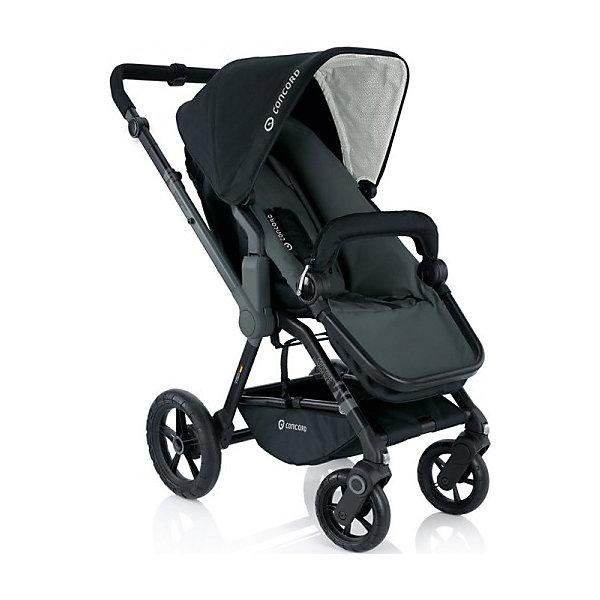 Прогулочная коляска Concord Wanderer, Phantom BlackПрогулочные коляски<br>Прогулочная коляска Wanderer, Concord, Phantom Black<br><br>Характеристики коляски Concord Wanderer:<br><br>• возраст ребенка: от 6 месяцев до 3-х лет;<br>• вес ребенка: до 15 кг;<br>• количество положений спинки: 3, вплоть до горизонтального;<br>• наличие 5-ти точечных ремней безопасности с мягкими накладками;<br>• регулируемая подножка;<br>• реверсивный блок (возможность установить прогулочный блок как лицом к маме, так и лицом к окружающему миру);<br>• высота ручки коляски регулируется, тип ручки – цельная;<br>• перекидная ручка коляски;<br>• бампер съемный;<br>• чехлы съемные, допускается стирка при температуре 30 градусов;<br>• наличие амортизаторов делают ход коляски мягким и плавным;<br>• положение капюшона регулируется в 4-х положениях, предусмотрена УФ-защиту 50+;<br>• колеса с подшипниками, передние поворотные с функцией блокировки, задние колеса большего диаметра;<br>• тип тормоза: ножной;<br>• тип складывания: книжка.<br><br>Прогулочная коляска Concord Wanderer имеет просторное прогулочное сиденье со спинкой, опускающейся до горизонтального положения, глубокий капюшон, съемный бампер. Прогулочный блок можно установить в 2-х положениях. Цельная ручка коляски регулируется по высоте. Колеса вращаются на 360 градусов, задние зафиксированы. <br><br>На шасси Concord можно установить люльку для новорожденного Concord Sleeper и детское автокресло Concord Air. <br><br>Обратите внимание: данные аксессуары приобретаются отдельно.<br><br>Размеры коляски Конкорд:<br><br>• ширина сиденья: 33 см;<br>• высота спинки: 45 см;<br>• длина спального места: 75 см;<br>• высота ручки: 73-102 см;<br>• размер коляски в разложенном виде: 104x60x102 см.<br>• размер в сложенном виде: 69x50x39 см.<br>• вес: 13,5 кг.<br><br>Комплектация: <br><br>• прогулочный блок с капюшоном и бампером;<br>• шасси с колесами;<br>• накидка на ножки;<br>• дождевик;<br>• инструкция. <br><br>Прогулочную коляску Wanderer, Concord, P