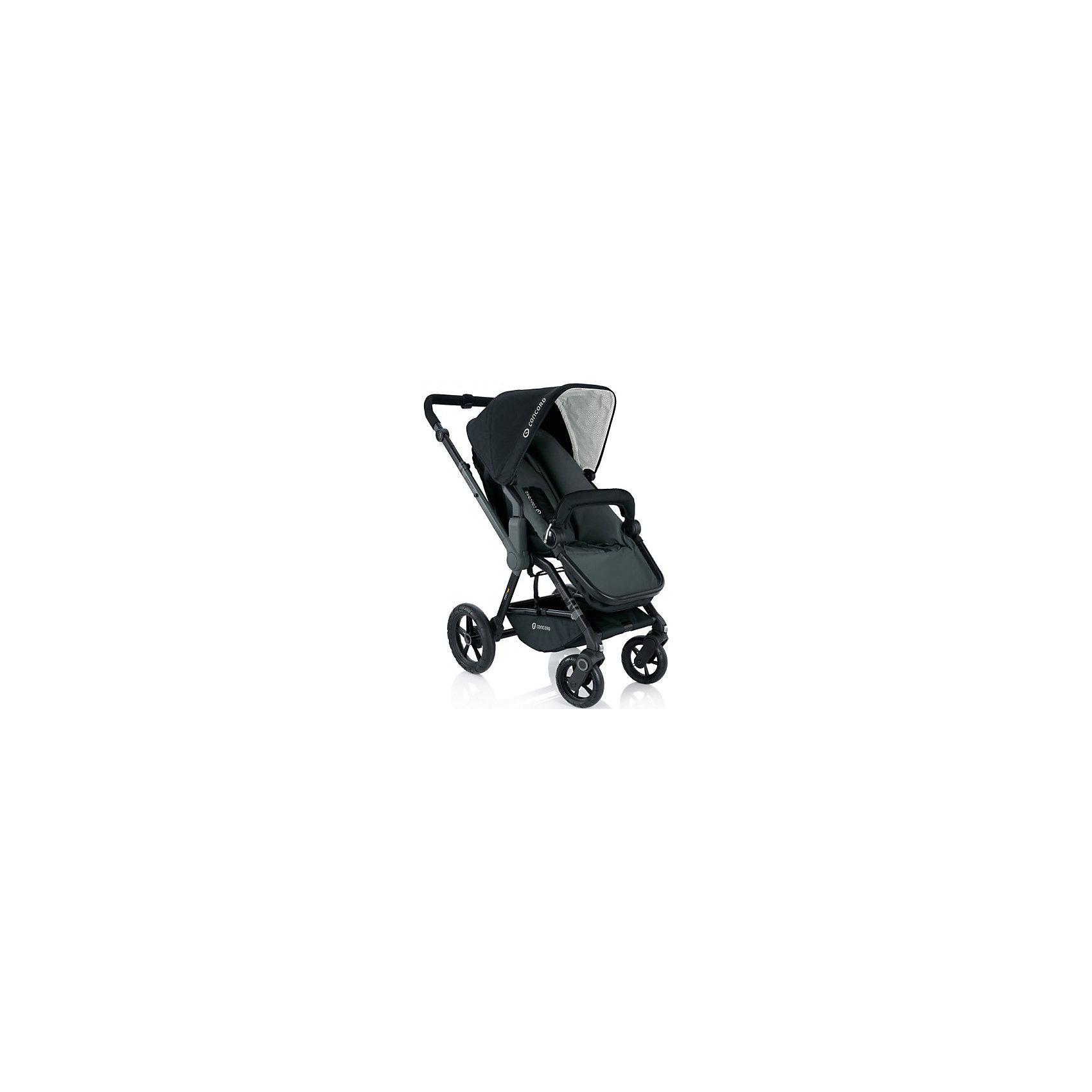 Прогулочная коляска Wanderer, Concord, Phantom BlackПрогулочная коляска Wanderer, Concord, Phantom Black<br><br>Характеристики коляски Concord Wanderer:<br><br>• возраст ребенка: от 6 месяцев до 3-х лет;<br>• вес ребенка: до 15 кг;<br>• количество положений спинки: 3, вплоть до горизонтального;<br>• наличие 5-ти точечных ремней безопасности с мягкими накладками;<br>• регулируемая подножка;<br>• реверсивный блок (возможность установить прогулочный блок как лицом к маме, так и лицом к окружающему миру);<br>• высота ручки коляски регулируется, тип ручки – цельная;<br>• перекидная ручка коляски;<br>• бампер съемный;<br>• чехлы съемные, допускается стирка при температуре 30 градусов;<br>• наличие амортизаторов делают ход коляски мягким и плавным;<br>• положение капюшона регулируется в 4-х положениях, предусмотрена УФ-защиту 50+;<br>• колеса с подшипниками, передние поворотные с функцией блокировки, задние колеса большего диаметра;<br>• тип тормоза: ножной;<br>• тип складывания: книжка.<br><br>Прогулочная коляска Concord Wanderer имеет просторное прогулочное сиденье со спинкой, опускающейся до горизонтального положения, глубокий капюшон, съемный бампер. Прогулочный блок можно установить в 2-х положениях. Цельная ручка коляски регулируется по высоте. Колеса вращаются на 360 градусов, задние зафиксированы. <br><br>На шасси Concord можно установить люльку для новорожденного Concord Sleeper и детское автокресло Concord Air. <br><br>Обратите внимание: данные аксессуары приобретаются отдельно.<br><br>Размеры коляски Конкорд:<br><br>• ширина сиденья: 33 см;<br>• высота спинки: 45 см;<br>• длина спального места: 75 см;<br>• высота ручки: 73-102 см;<br>• размер коляски в разложенном виде: 104x60x102 см.<br>• размер в сложенном виде: 69x50x39 см.<br>• вес: 13,5 кг.<br><br>Комплектация: <br><br>• прогулочный блок с капюшоном и бампером;<br>• шасси с колесами;<br>• накидка на ножки;<br>• дождевик;<br>• инструкция. <br><br>Прогулочную коляску Wanderer, Concord, Phantom Black можно куп