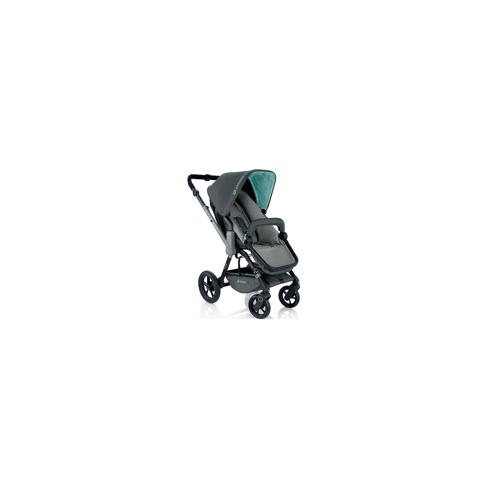 Прогулочная коляска Concord Wanderer, Shadow GreyПрогулочные коляски<br>Прогулочная коляска Wanderer, Concord, Shadow Grey<br><br>Характеристики коляски Concord Wanderer:<br><br>• возраст ребенка: от 6 месяцев до 3-х лет;<br>• вес ребенка: до 15 кг;<br>• количество положений спинки: 3, вплоть до горизонтального;<br>• наличие 5-ти точечных ремней безопасности с мягкими накладками;<br>• регулируемая подножка;<br>• реверсивный блок (возможность установить прогулочный блок как лицом к маме, так и лицом к окружающему миру);<br>• высота ручки коляски регулируется, тип ручки – цельная;<br>• перекидная ручка коляски;<br>• бампер съемный;<br>• чехлы съемные, допускается стирка при температуре 30 градусов;<br>• наличие амортизаторов делают ход коляски мягким и плавным;<br>• положение капюшона регулируется в 4-х положениях, предусмотрена УФ-защиту 50+;<br>• колеса с подшипниками, передние поворотные с функцией блокировки, задние колеса большего диаметра;<br>• тип тормоза: ножной;<br>• тип складывания: книжка.<br><br>Прогулочная коляска Concord Wanderer имеет просторное прогулочное сиденье со спинкой, опускающейся до горизонтального положения, глубокий капюшон, съемный бампер. Прогулочный блок можно установить в 2-х положениях. Цельная ручка коляски регулируется по высоте. Колеса вращаются на 360 градусов, задние зафиксированы. <br><br>На шасси Concord можно установить люльку для новорожденного Concord Sleeper и детское автокресло Concord Air. <br><br>Обратите внимание: данные аксессуары приобретаются отдельно.<br><br>Размеры коляски Конкорд:<br><br>• ширина сиденья: 33 см;<br>• высота спинки: 45 см;<br>• длина спального места: 75 см;<br>• высота ручки: 73-102 см;<br>• размер коляски в разложенном виде: 104x60x102 см.<br>• размер в сложенном виде: 69x50x39 см.<br>• вес: 13,5 кг.<br><br>Комплектация: <br><br>• прогулочный блок с капюшоном и бампером;<br>• шасси с колесами;<br>• накидка на ножки;<br>• дождевик;<br>• инструкция. <br><br>Прогулочную коляску Wanderer, Concord, Shado