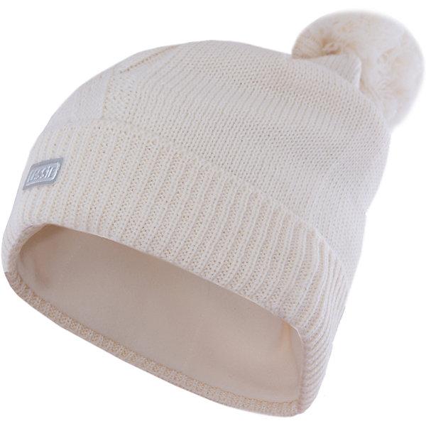 Шапка для девочки LASSIEГоловные уборы<br>Шапка «Бини» для детей известной финской марки.<br><br>- Мягкая и теплая ткань из смеси шерсти.<br><br>- Ветронепроницаемые вставки в области ушей.<br>- Мягкая теплая подкладка из флиса. <br>- Помпон сверху. <br>- Декоративная структура поверхности. <br>- Светоотражающая эмблема Lassie® спереди.  <br><br>Рекомендации по уходу: Придать первоначальную форму вo влажном виде. <br><br>Возможна усадка 5 %.Состав: 50% Шерсть, 50% полиакрил.<br>Ширина мм: 89; Глубина мм: 117; Высота мм: 44; Вес г: 155; Цвет: белый; Возраст от месяцев: 12; Возраст до месяцев: 24; Пол: Женский; Возраст: Детский; Размер: 46-48,50-52,54-56; SKU: 4780681;