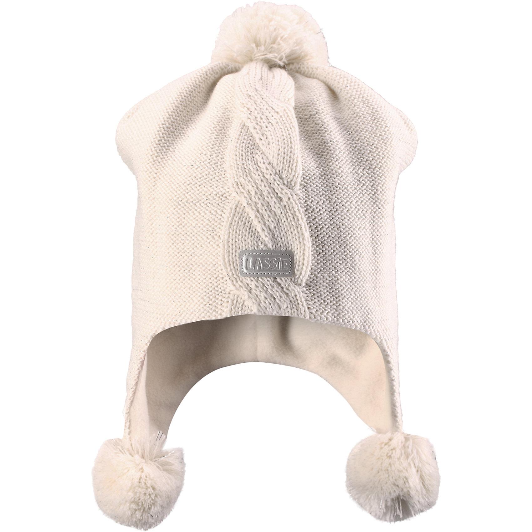 Шапка для девочки LASSIEШапка «Бини» для детей известной финской марки.<br><br>- Мягкая и теплая ткань из смеси шерсти.<br><br>- Ветронепроницаемые вставки в области ушей.<br>- Мягкая теплая подкладка из флиса. <br>- Помпон сверху. <br>- Декоративная структура поверхности. <br>- Светоотражающая эмблема Lassie® спереди.  <br><br>Рекомендации по уходу: Придать первоначальную форму вo влажном виде. <br><br>Возможна усадка 5 %.Состав: 50% Шерсть, 50% полиакрил.<br><br>Ширина мм: 89<br>Глубина мм: 117<br>Высота мм: 44<br>Вес г: 155<br>Цвет: белый<br>Возраст от месяцев: 72<br>Возраст до месяцев: 120<br>Пол: Женский<br>Возраст: Детский<br>Размер: 54-56,46-48,50-52<br>SKU: 4780745
