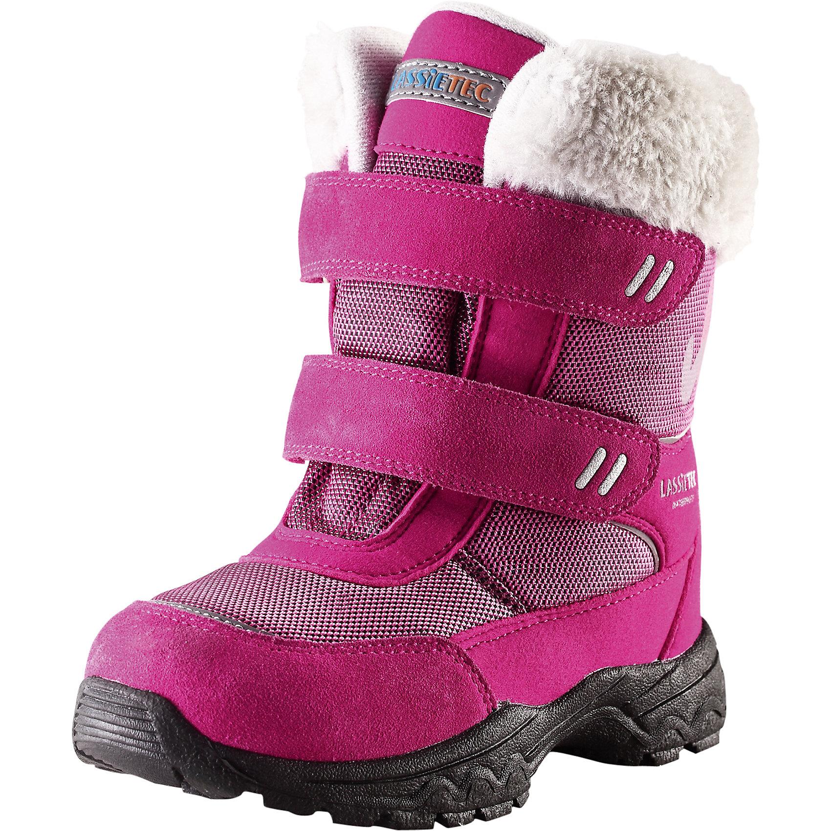 Ботинки для девочки LassieОбувь<br>Зимние сапоги для детей Lassietec®. <br><br>- Водонепроницаемая зимняя обувь.<br>- Верх из натуральной замши (из телячьей кожи), синтетического материала и текстиля.<br>- Подошва из термопластичного каучука обеспечивает хорошее сцепление с поверхностью. <br>- Подкладка из искусственного меха.<br>- Съемные стельки. Застежки на липучках обеспечивают простоту использования.<br>- Светоотражающие детали. <br><br>Храните обувь в вертикальном положении при комнатной температуре. Сушить обувь всегда следует при комнатной температуре: вынув съемные стельки. Стельки следует время от времени заменять на новые. Налипшую грязь можно счищать щеткой или влажной тряпкой. Перед использованием обувь рекомендуется обрабатывать специальными защитными средствами.<br><br>Состав: Подошва: Термопластиковая резина, Верх: 70% ПЭ 20% ПУ 10% Кожа.<br><br>Ширина мм: 257<br>Глубина мм: 180<br>Высота мм: 130<br>Вес г: 420<br>Цвет: розовый<br>Возраст от месяцев: 21<br>Возраст до месяцев: 24<br>Пол: Женский<br>Возраст: Детский<br>Размер: 24,35,25,26,27,28,29,30,31,32,33,34<br>SKU: 4780814
