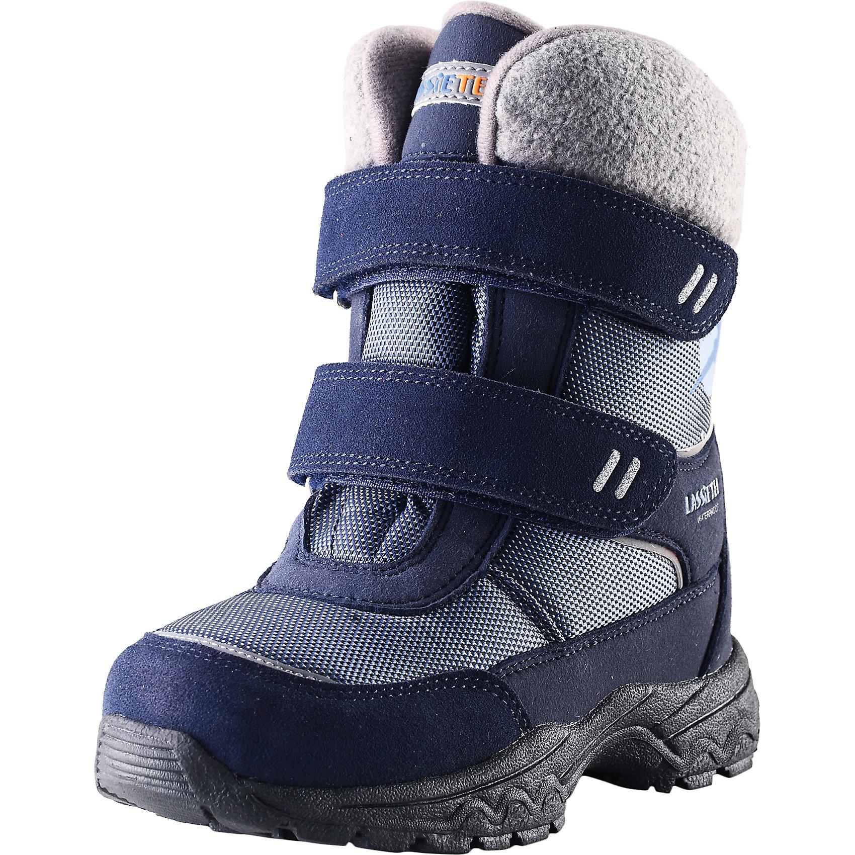 Ботинки для мальчика LassieОбувь<br>Зимние сапоги для детей Lassietec®. <br><br>- Водонепроницаемая зимняя обувь.<br>- Верх из натуральной замши (из телячьей кожи), синтетического материала и текстиля.<br>- Подошва из термопластичного каучука обеспечивает хорошее сцепление с поверхностью. <br>- Подкладка из искусственного меха.<br>- Съемные стельки. Застежки на липучках обеспечивают простоту использования.<br>- Светоотражающие детали. <br><br>Храните обувь в вертикальном положении при комнатной температуре. Сушить обувь всегда следует при комнатной температуре: вынув съемные стельки. Стельки следует время от времени заменять на новые. Налипшую грязь можно счищать щеткой или влажной тряпкой. Перед использованием обувь рекомендуется обрабатывать специальными защитными средствами.<br><br>Состав: Подошва: Термопластиковая резина, Верх: 70% ПЭ 20% ПУ 10% Кожа.<br><br>Ширина мм: 257<br>Глубина мм: 180<br>Высота мм: 130<br>Вес г: 420<br>Цвет: синий<br>Возраст от месяцев: 21<br>Возраст до месяцев: 24<br>Пол: Мужской<br>Возраст: Детский<br>Размер: 24,35,25,26,27,28,29,30,31,32,33,34<br>SKU: 4780827