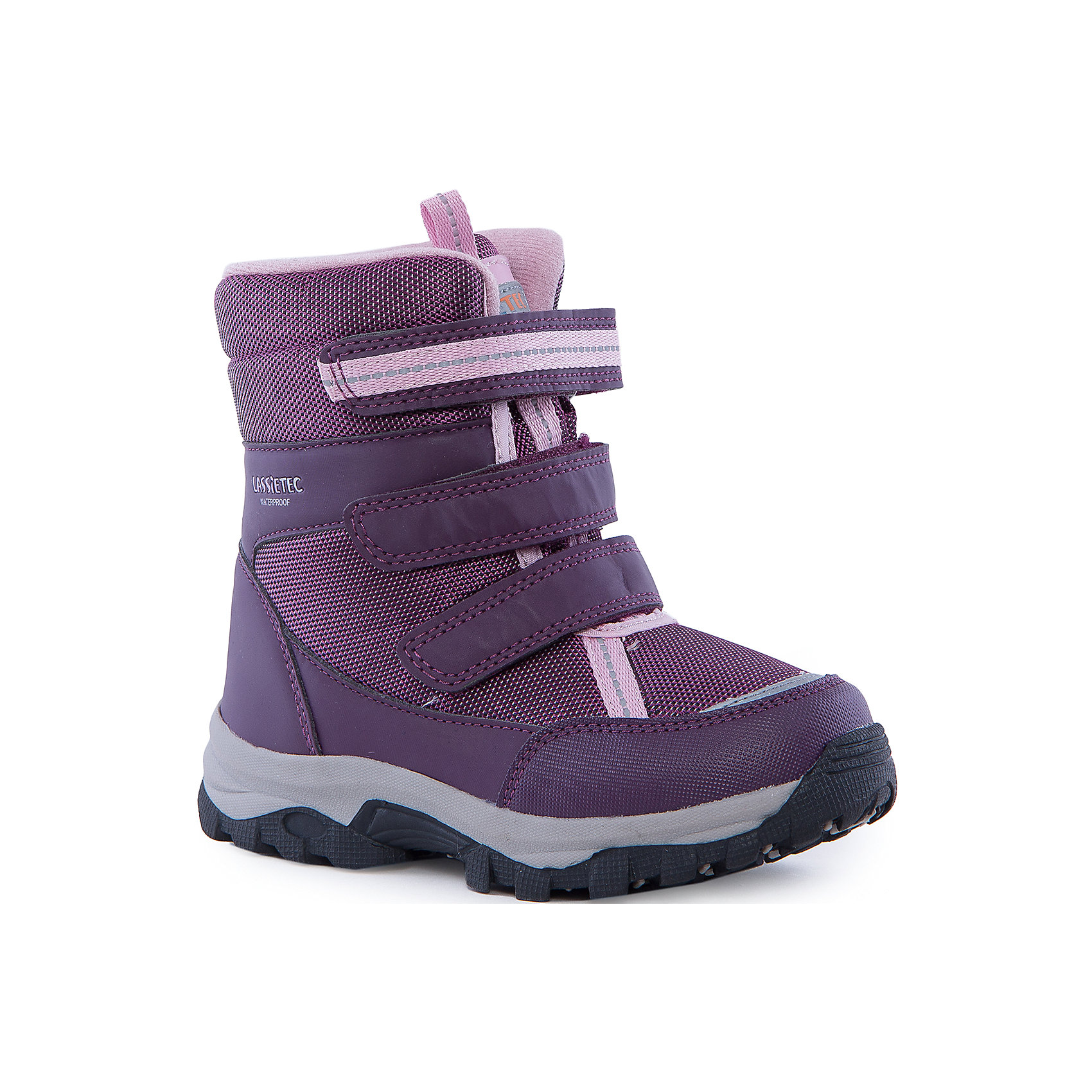 Сапоги для девочки LASSIEЗимние сапоги для детей Lassietec®. <br><br>-Водонепроницаемая зимняя обувь.<br>- Верх из синтетического материала и текстиля.<br>- Подошва из термопластичного каучука обеспечивает хорошее сцепление с поверхностью. <br>-Водонепроницаемая конструкция с герметичными вставками и подкладкой из искусственного меха.<br>- Съемные стелькиЗастежки на липучках обеспечивают простоту использования. <br>-Светоотражающие детали. <br><br>Храните обувь в вертикальном положении при комнатной температуре. Сушить обувь всегда следует при комнатной температуре: вынув съемные стельки. Стельки следует время от времени заменять на новые. Налипшую грязь можно счищать щеткой или влажной тряпкой. Перед использованием обувь рекомендуется обрабатывать специальными защитными средствами.<br><br>Состав: Подошва: Термопластиковая резина, Верх: 80% Брезент 20% ПУ.<br><br>Ширина мм: 257<br>Глубина мм: 180<br>Высота мм: 130<br>Вес г: 420<br>Цвет: фиолетовый<br>Возраст от месяцев: 96<br>Возраст до месяцев: 108<br>Пол: Женский<br>Возраст: Детский<br>Размер: 32,33,34,38,26,24,25,27,28,29,30,31,35,36,37<br>SKU: 4780840