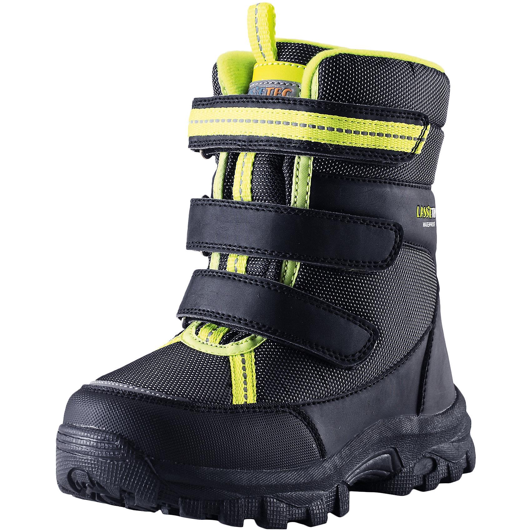 Ботинки LassieОбувь<br>Зимние сапоги для детей Lassietec®. <br><br>-Водонепроницаемая зимняя обувь.<br>- Верх из синтетического материала и текстиля.<br>- Подошва из термопластичного каучука обеспечивает хорошее сцепление с поверхностью. <br>-Водонепроницаемая конструкция с герметичными вставками и подкладкой из искусственного меха.<br>- Съемные стелькиЗастежки на липучках обеспечивают простоту использования. <br>-Светоотражающие детали. <br><br>Храните обувь в вертикальном положении при комнатной температуре. Сушить обувь всегда следует при комнатной температуре: вынув съемные стельки. Стельки следует время от времени заменять на новые. Налипшую грязь можно счищать щеткой или влажной тряпкой. Перед использованием обувь рекомендуется обрабатывать специальными защитными средствами.<br><br>Состав: Подошва: Термопластиковая резина, Верх: 80% Брезент 20% ПУ.<br><br>Ширина мм: 257<br>Глубина мм: 180<br>Высота мм: 130<br>Вес г: 420<br>Цвет: черный<br>Возраст от месяцев: 21<br>Возраст до месяцев: 24<br>Пол: Унисекс<br>Возраст: Детский<br>Размер: 24,38,25,26,27,28,29,30,31,32,33,34,35,36,37<br>SKU: 4780856