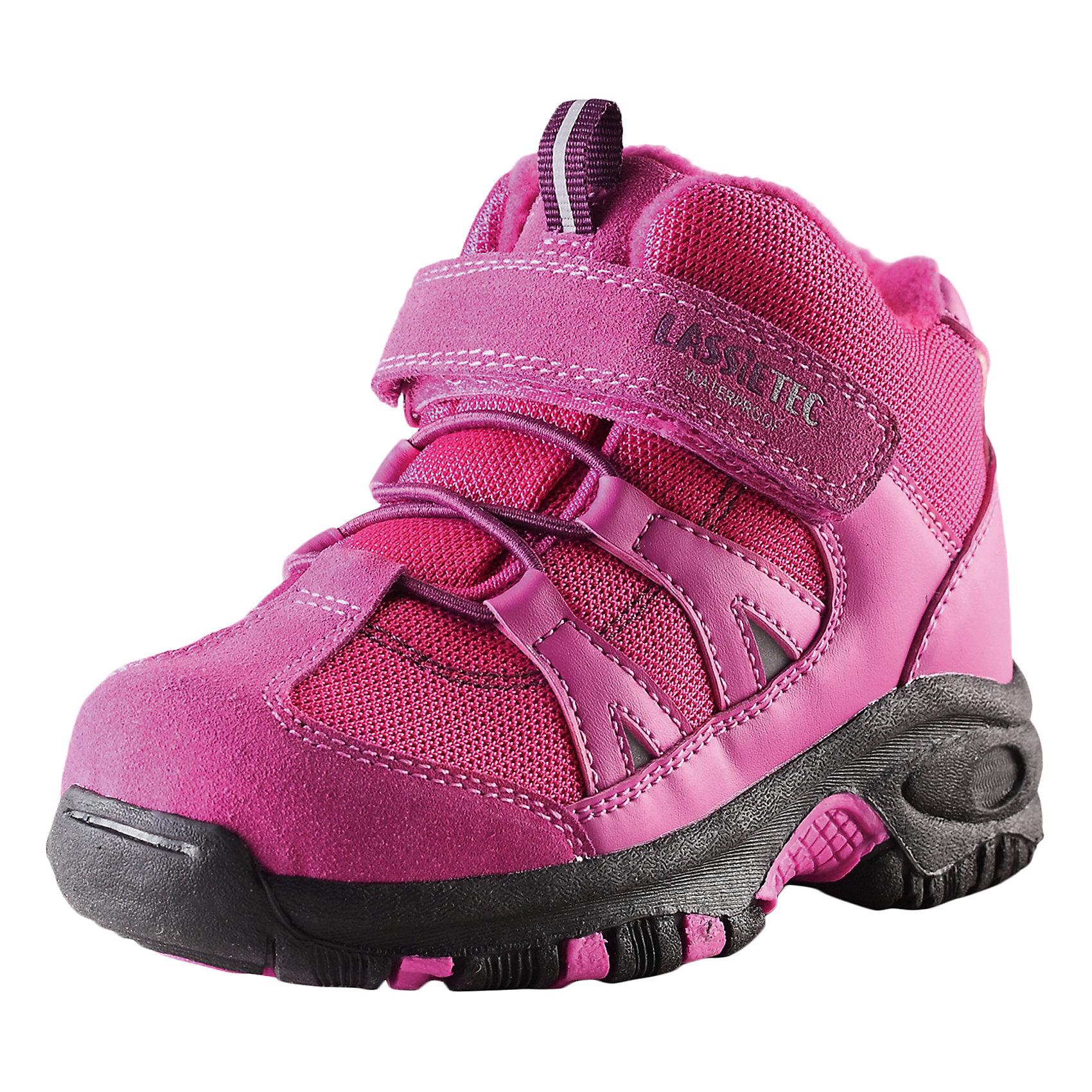 Ботинки для девочки LASSIE by ReimaБотинки для детей Lassietec®. <br><br>- Водонепроницаемая зимняя обувь. <br>- Верх из натуральной замши (из телячьей кожи), синтетического материала и текстиля. <br>- Подошва из термопластичного каучука обеспечивает хорошее сцепление с поверхностью. <br>- Текстильная подкладка. <br>- Съемные стельки. <br>- Простая застежка на липучке с эластичными шнурками для регулировки размера. <br>- Светоотражающие детали.<br><br>Храните обувь в вертикальном положении при комнатной температуре. Сушить обувь всегда следует при комнатной температуре: вынув съемные стельки. Стельки следует время от времени заменять на новые. Налипшую грязь можно счищать щеткой или влажной тряпкой. Перед использованием обувь рекомендуется обрабатывать специальными защитными средствами.<br><br>Состав: Подошва: Термопластиковая резина, Верх: 70% ПЭ 20% ПУ 10% Кожа.<br><br>Ширина мм: 262<br>Глубина мм: 176<br>Высота мм: 97<br>Вес г: 427<br>Цвет: розовый<br>Возраст от месяцев: 15<br>Возраст до месяцев: 18<br>Пол: Женский<br>Возраст: Детский<br>Размер: 22,35,34,33,32,31,30,29,28,27,26,25,24,23<br>SKU: 4780872