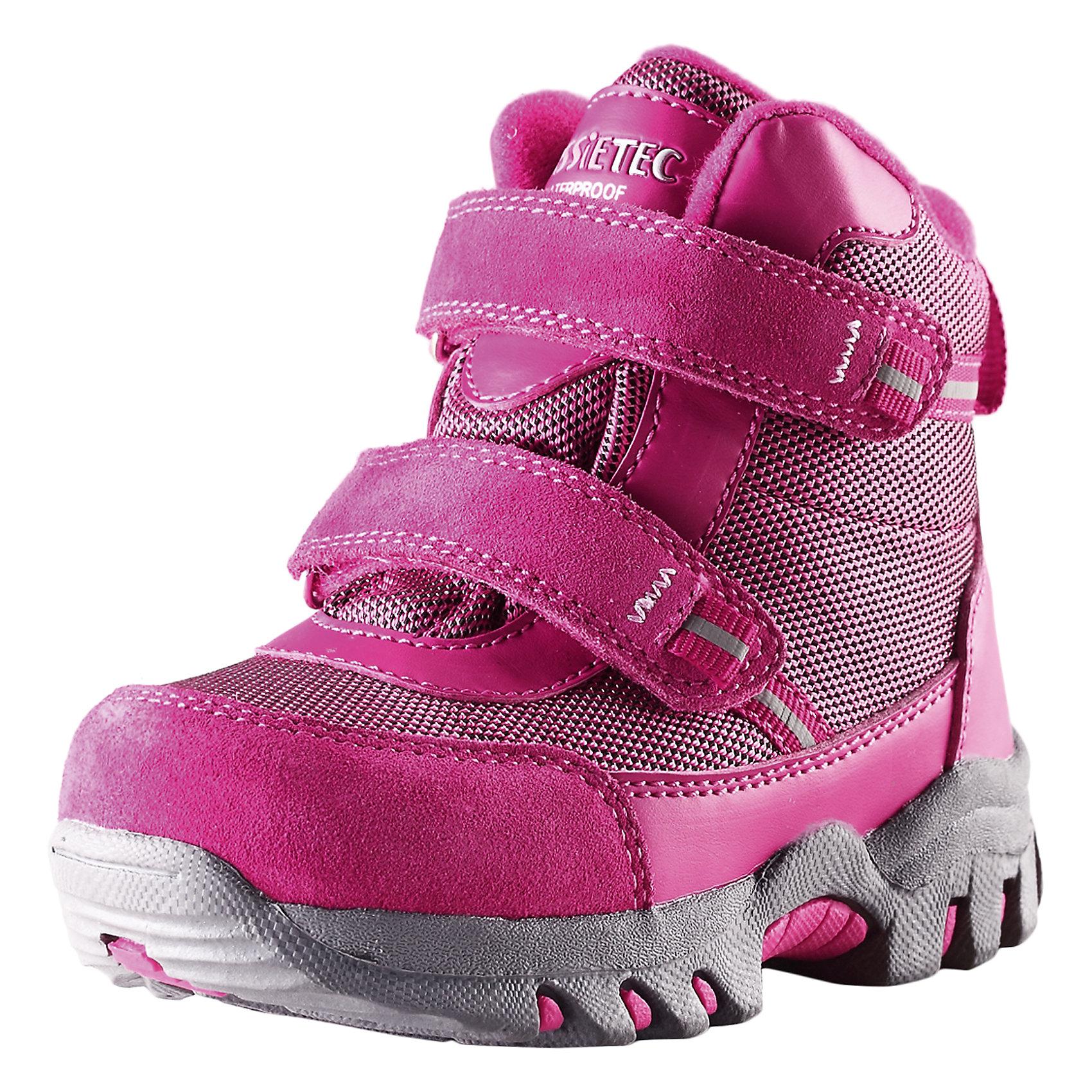 Ботинки для девочки  LASSIEЗимние ботинки для малышей Lassietec®. <br><br>- Водонепроницаемая зимняя обувь. <br>- Верх из натуральной замши (из телячьей кожи), синтетического материала и текстиля. <br>- Подошва из термопластичного каучука обеспечивает хорошее сцепление с поверхностью. <br>- Подкладка из искусственного меха. <br>- Съемные стельки. <br>- Простая застежка на липучке, имеющая две точки крепления. <br>- Светоотражающие детали.<br><br>Храните обувь в вертикальном положении при комнатной температуре. Сушить обувь всегда следует при комнатной температуре: вынув съемные стельки. Стельки следует время от времени заменять на новые. Налипшую грязь можно счищать щеткой или влажной тряпкой. Перед использованием обувь рекомендуется обрабатывать специальными защитными средствами.<br><br>Состав: Подошва: Термопластиковая резина, Верх: 70% ПЭ 20% ПУ 10% Кожа.<br><br>Ширина мм: 262<br>Глубина мм: 176<br>Высота мм: 97<br>Вес г: 427<br>Цвет: розовый<br>Возраст от месяцев: 36<br>Возраст до месяцев: 48<br>Пол: Женский<br>Возраст: Детский<br>Размер: 27,22,23,24,25,26<br>SKU: 4780902