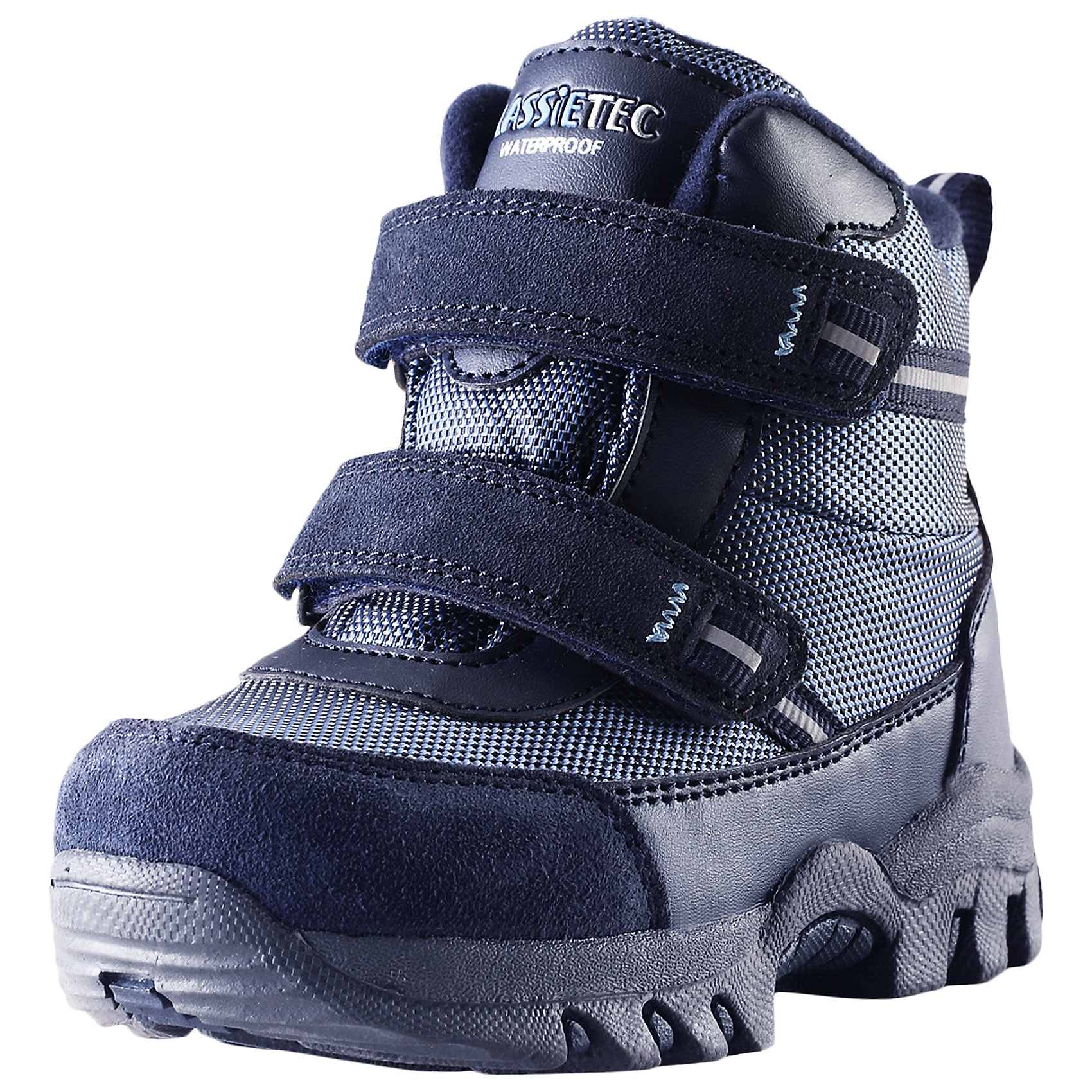 Ботинки для мальчика LASSIEЗимние ботинки для малышей Lassietec®. <br><br>- Водонепроницаемая зимняя обувь. <br>- Верх из натуральной замши (из телячьей кожи), синтетического материала и текстиля. <br>- Подошва из термопластичного каучука обеспечивает хорошее сцепление с поверхностью. <br>- Подкладка из искусственного меха. <br>- Съемные стельки. <br>- Простая застежка на липучке, имеющая две точки крепления. <br>- Светоотражающие детали.<br><br>Храните обувь в вертикальном положении при комнатной температуре. Сушить обувь всегда следует при комнатной температуре: вынув съемные стельки. Стельки следует время от времени заменять на новые. Налипшую грязь можно счищать щеткой или влажной тряпкой. Перед использованием обувь рекомендуется обрабатывать специальными защитными средствами.<br><br>Состав: Подошва: Термопластиковая резина, Верх: 70% ПЭ 20% ПУ 10% Кожа.<br><br>Ширина мм: 262<br>Глубина мм: 176<br>Высота мм: 97<br>Вес г: 427<br>Цвет: синий<br>Возраст от месяцев: 15<br>Возраст до месяцев: 18<br>Пол: Мужской<br>Возраст: Детский<br>Размер: 22,27,23,24,25,26<br>SKU: 4780909