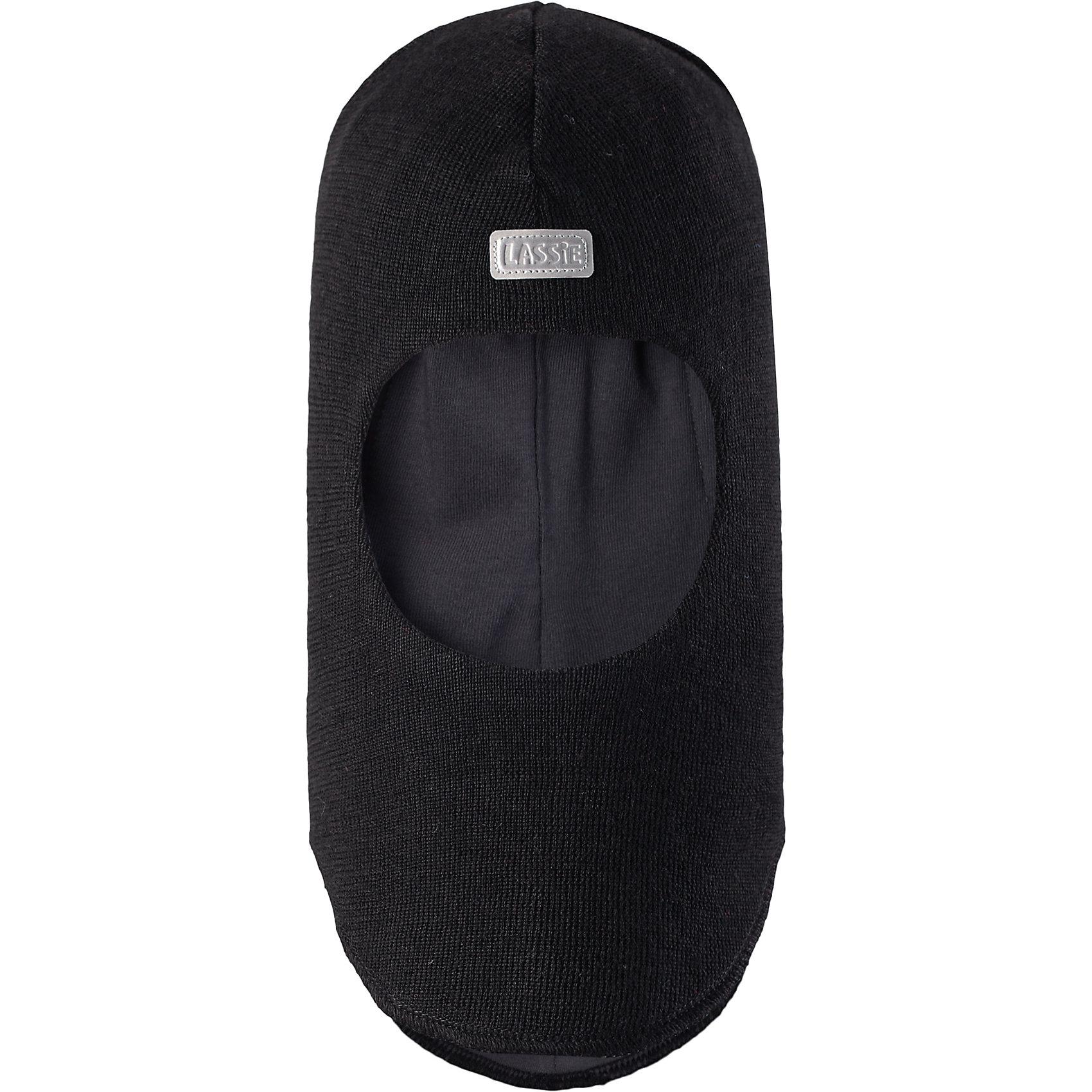 Шапка LASSIEШапки и шарфы<br>Шапка-шлем для малышей известной финской марки.<br><br>- Мягкая и теплая ткань из смеси шерсти.<br>- Ветронепроницаемые вставки в области ушей.<br>- Мягкая подкладка из хлопка и эластана. <br>- Узор из цветных полос. <br>- Светоотражающая эмблема Lassie® спереди.<br><br> Рекомендации по уходу: Придать первоначальную форму вo влажном виде. Возможна усадка 5 %.<br><br>Состав: 50% Шерсть, 50% полиакрил.<br><br>Ширина мм: 89<br>Глубина мм: 117<br>Высота мм: 44<br>Вес г: 155<br>Цвет: черный<br>Возраст от месяцев: 12<br>Возраст до месяцев: 24<br>Пол: Мужской<br>Возраст: Детский<br>Размер: 46-48,50-52,44-46,54-56<br>SKU: 4781034