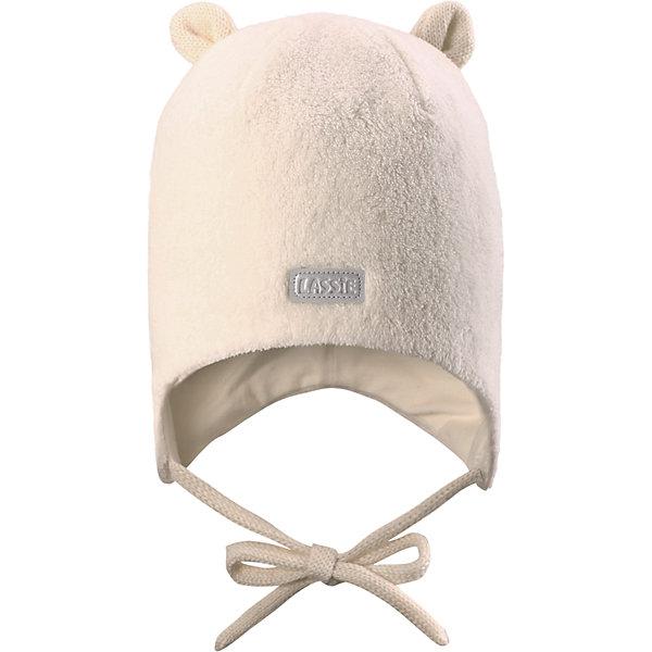 Шапка LASSIEШапки и шарфы<br>Шапка «Бини» для самых маленьких известной финской марки.<br><br>- Эластичный удобный материал.<br>- Шелковая на ощупь ткань, простая в уходе. <br>- Ветронепроницаемые вставки в области ушей. <br>- Мягкая подкладка из хлопка и эластана. <br>- Светоотражающая эмблема Lassie®. <br><br>Рекомендации по уходу: Соблюдать температуру в соответствии с руководством по уходу. Стирать с бельем одинакового цвета, вывернув наизнанку.<br><br>Состав: 100% Полиэстер.<br><br>Ширина мм: 89<br>Глубина мм: 117<br>Высота мм: 44<br>Вес г: 155<br>Цвет: белый<br>Возраст от месяцев: 6<br>Возраст до месяцев: 12<br>Пол: Женский<br>Возраст: Детский<br>Размер: 44-46,42-44,46-48,50-52<br>SKU: 4781039