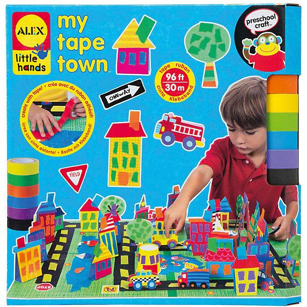 Набор для поделок из цветной клейкой ленты Город, ALEXБумага<br>Используя разноцветную клейкую ленту можно создать свой собственный город с домами, дорогами, машинками и парком.  Игра отлично развивает творческие способности и фантазию. В наборе 30 м цветной клейкой ленты 6 цветов, 68 стикеров, бумажные фигурки, 2 основы 20 х 30 см, 4 бумажных стаканчика и инструкция в картинках.<br><br>Ширина мм: 305<br>Глубина мм: 305<br>Высота мм: 50<br>Вес г: 550<br>Возраст от месяцев: 36<br>Возраст до месяцев: 72<br>Пол: Унисекс<br>Возраст: Детский<br>SKU: 4781123