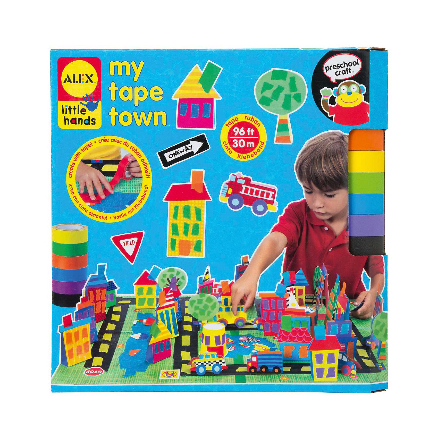 Набор для поделок из цветной клейкой ленты Город, ALEXИспользуя разноцветную клейкую ленту можно создать свой собственный город с домами, дорогами, машинками и парком.  Игра отлично развивает творческие способности и фантазию. В наборе 30 м цветной клейкой ленты 6 цветов, 68 стикеров, бумажные фигурки, 2 основы 20 х 30 см, 4 бумажных стаканчика и инструкция в картинках.<br><br>Ширина мм: 305<br>Глубина мм: 305<br>Высота мм: 50<br>Вес г: 550<br>Возраст от месяцев: 36<br>Возраст до месяцев: 72<br>Пол: Унисекс<br>Возраст: Детский<br>SKU: 4781123