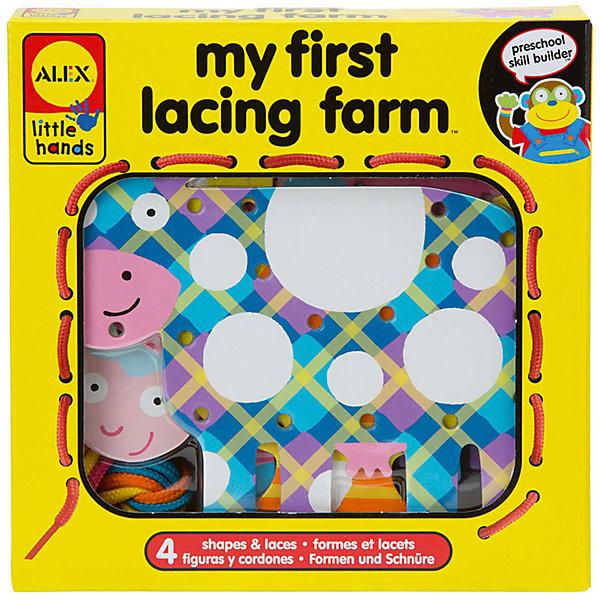 Шнуровка Веселая фермаШнуровки<br>Прекрасная развивающая игрушка для Вашего малыша - шнуровка Веселая ферма. Стимулирует мелкую моторику, цветовосприятие, фантазию, логику, терпение, является великолепным тренажером для завязывания шнурков. Замечательно-полезный подарок для любого ребенка.<br><br>Дополнительная информация:<br>- рекомендуемый возраст: от 3 лет<br>- в комплекте 4 веселые зверушки из плотного картона - свинка, уточка, корова и овечка, разноцветные шнурки<br><br>Шнуровку Веселая ферма можно купить в нашем магазине<br>Ширина мм: 203; Глубина мм: 381; Высота мм: 203; Вес г: 290; Возраст от месяцев: 36; Возраст до месяцев: 60; Пол: Унисекс; Возраст: Детский; SKU: 4781124;