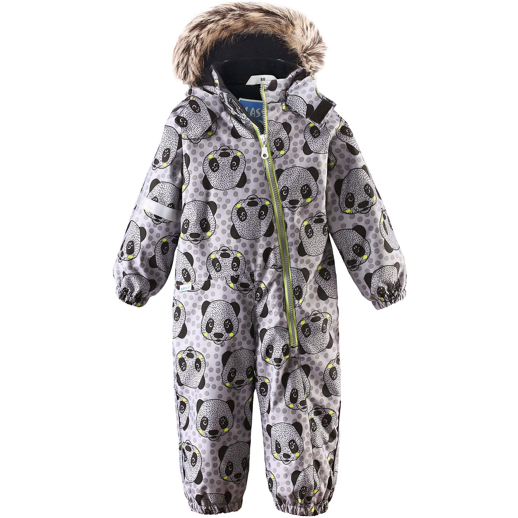 Комбинезон LASSIEВерхняя одежда<br>Зимний комбинезон для малышей известной финской марки.<br><br>- Прочный материал. Водоотталкивающий, ветронепроницаемый, «дышащий» и грязеотталкивающий материал.<br>- Задний серединный шов проклеен. <br>- Мягкая теплая подкладка из флиса. Гладкая подкладка из полиэстра. <br>- Средняя степень утепления. <br>- Безопасный съемный капюшон с отсоединяемой меховой каймой из искусственного меха. <br>- Эластичные манжеты. Эластичные штанины. <br> - Съемные эластичные штрипки. Длинная молния для легкого одевания.<br>-  Принт по всей поверхности. <br><br>Рекомендации по уходу: Стирать по отдельности, вывернув наизнанку. Перед стиркой отстегните искусственный мех. Застегнуть молнии и липучки. Соблюдать температуру в соответствии с руководством по уходу. Стирать моющим средством, не содержащим отбеливающие вещества. Полоскать без специального средства. Сушение в сушильном шкафу разрешено при  низкой температуре.<br><br>Состав: 100% Полиамид, полиуретановое покрытие.  Утеплитель «Lassie wadding» 180гр.<br><br>Ширина мм: 356<br>Глубина мм: 10<br>Высота мм: 245<br>Вес г: 519<br>Цвет: серый<br>Возраст от месяцев: 6<br>Возраст до месяцев: 9<br>Пол: Мужской<br>Возраст: Детский<br>Размер: 74,80,86,92,98<br>SKU: 4781549