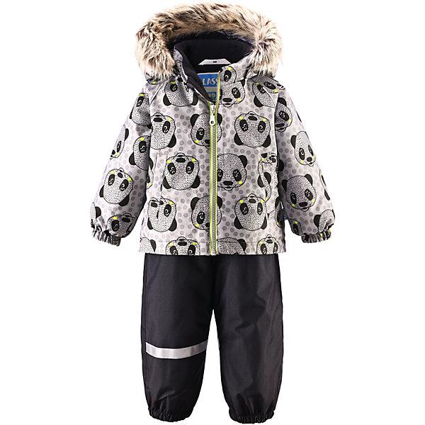 Комплект LASSIEВерхняя одежда<br>Зимний комбинезон для малышей известной финской марки.<br><br>- Прочный материал. Водоотталкивающий, ветронепроницаемый, «дышащий» и грязеотталкивающий материал.<br>- Задний серединный шов брюк проклеен. <br>- Мягкая теплая подкладка из флиса. <br>- Гладкая подкладка из полиэстра.<br>-  Безопасный съемный капюшон с отсоединяемой меховой каймой из искусственного меха. <br>- Эластичные манжеты. Эластичная талия.<br>-  Регулируемый подол. Эластичные штанины. <br>- Съемные эластичные штрипки. Два прорезных кармана. <br>- Регулируемые эластичные подтяжки.<br>-  Принт по всей поверхности. <br><br>Рекомендации по уходу: Стирать по отдельности, вывернув наизнанку. Перед стиркой отстегните искусственный мех. Застегнуть молнии и липучки. Соблюдать температуру в соответствии с руководством по уходу. Стирать моющим средством, не содержащим отбеливающие вещества. Полоскать без специального средства. Сушение в сушильном шкафу разрешено при  низкой температуре.<br><br>Состав: 100% Полиамид, полиуретановое покрытие.  Утеплитель «Lassie wadding» 140гр.(брюки); 180гр.(куртка).<br>Ширина мм: 356; Глубина мм: 10; Высота мм: 245; Вес г: 519; Цвет: серый; Возраст от месяцев: 6; Возраст до месяцев: 9; Пол: Унисекс; Возраст: Детский; Размер: 74,98,92,86,80; SKU: 4781592;