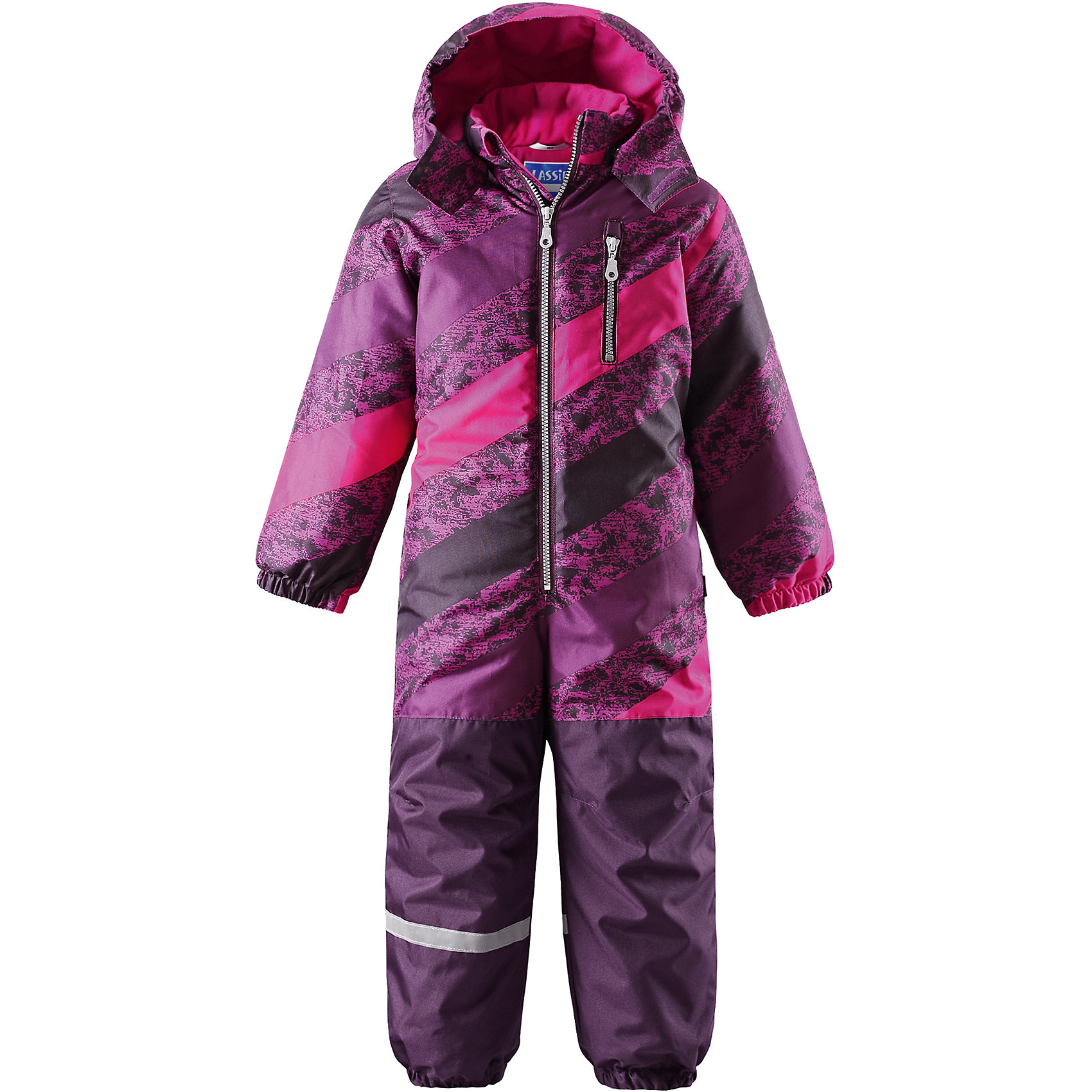 Комбинезон LASSIEОдежда<br>Зимний комбинезон для детей известной финской марки.<br><br>- Прочный материал. Водоотталкивающий, ветронепроницаемый, «дышащий» и грязеотталкивающий материал.<br>-  Задний серединный шов проклеен. Гладкая подкладка из полиэстра. <br>- Средняя степень утепления. <br>- Безопасный, съемный капюшон. Эластичные манжеты. Эластичные штанины.<br>-  Съемные эластичные штрипки. Нагрудный карман на молнии. <br>- Принт по всей поверхности.  <br><br>Рекомендации по уходу: Стирать по отдельности, вывернув наизнанку. Застегнуть молнии и липучки. Соблюдать температуру в соответствии с руководством по уходу. Стирать моющим средством, не содержащим отбеливающие вещества. Полоскать без специального средства. Сушение в сушильном шкафу разрешено при  низкой температуре.<br><br>Состав: 100% Полиамид, полиуретановое покрытие.  Утеплитель «Lassie wadding» 180гр.<br><br>Ширина мм: 356<br>Глубина мм: 10<br>Высота мм: 245<br>Вес г: 519<br>Цвет: фиолетовый<br>Возраст от месяцев: 12<br>Возраст до месяцев: 15<br>Пол: Женский<br>Возраст: Детский<br>Размер: 80,128,86,92,98,104,110,116,122<br>SKU: 4781958