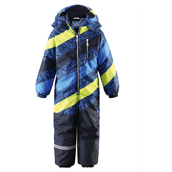 Комбинезон для мальчика LASSIEОдежда<br>Зимний комбинезон для детей известной финской марки.<br><br>- Прочный материал. Водоотталкивающий, ветронепроницаемый, «дышащий» и грязеотталкивающий материал.<br>-  Задний серединный шов проклеен. Гладкая подкладка из полиэстра. <br>- Средняя степень утепления. <br>- Безопасный, съемный капюшон. Эластичные манжеты. Эластичные штанины.<br>-  Съемные эластичные штрипки. Нагрудный карман на молнии. <br>- Принт по всей поверхности.  <br><br>Рекомендации по уходу: Стирать по отдельности, вывернув наизнанку. Застегнуть молнии и липучки. Соблюдать температуру в соответствии с руководством по уходу. Стирать моющим средством, не содержащим отбеливающие вещества. Полоскать без специального средства. Сушение в сушильном шкафу разрешено при  низкой температуре.<br><br>Состав: 100% Полиамид, полиуретановое покрытие.  Утеплитель «Lassie wadding» 180гр.<br>Ширина мм: 356; Глубина мм: 10; Высота мм: 245; Вес г: 519; Цвет: blau/gelb; Возраст от месяцев: 24; Возраст до месяцев: 36; Пол: Мужской; Возраст: Детский; Размер: 98,80,128,122,110,86,104,92,116; SKU: 4781968;