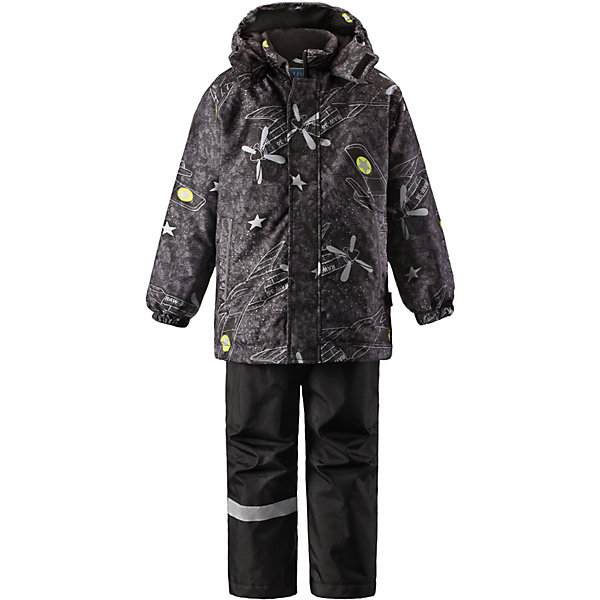 Комплект для мальчика LASSIEОдежда<br>Зимний комплект для детей известной финской марки.<br><br>-  Прочный материал. Водоотталкивающий, ветронепроницаемый, «дышащий» и грязеотталкивающий материал.<br>-  Задний серединный шов брюк проклеен.<br>-  Гладкая подкладка из полиэстра.<br>-  Средняя степень утепления. <br>- Безопасный, съемный капюшон.<br>-  Эластичные манжеты. Эластичная талия. <br>- Регулируемый подол. Снегозащитные манжеты на штанинах. <br>- Ширинка на молнии. Карманы в боковых швах.<br>-  Регулируемые и отстегивающиеся эластичные подтяжки.<br>-  Принт по всей поверхности. <br><br> Рекомендации по уходу: Стирать по отдельности, вывернув наизнанку. Застегнуть молнии и липучки. Соблюдать температуру в соответствии с руководством по уходу. Стирать моющим средством, не содержащим отбеливающие вещества. Полоскать без специального средства. Сушение в сушильном шкафу разрешено при  низкой температуре.<br><br>Состав: 100% Полиамид, полиуретановое покрытие.  Утеплитель «Lassie wadding» 100гр.(брюки); 180гр.(куртка).<br><br>Ширина мм: 190<br>Глубина мм: 74<br>Высота мм: 229<br>Вес г: 236<br>Цвет: черный<br>Возраст от месяцев: 18<br>Возраст до месяцев: 24<br>Пол: Мужской<br>Возраст: Детский<br>Размер: 92,140,134,128,122,116,110,104,98<br>SKU: 4782228