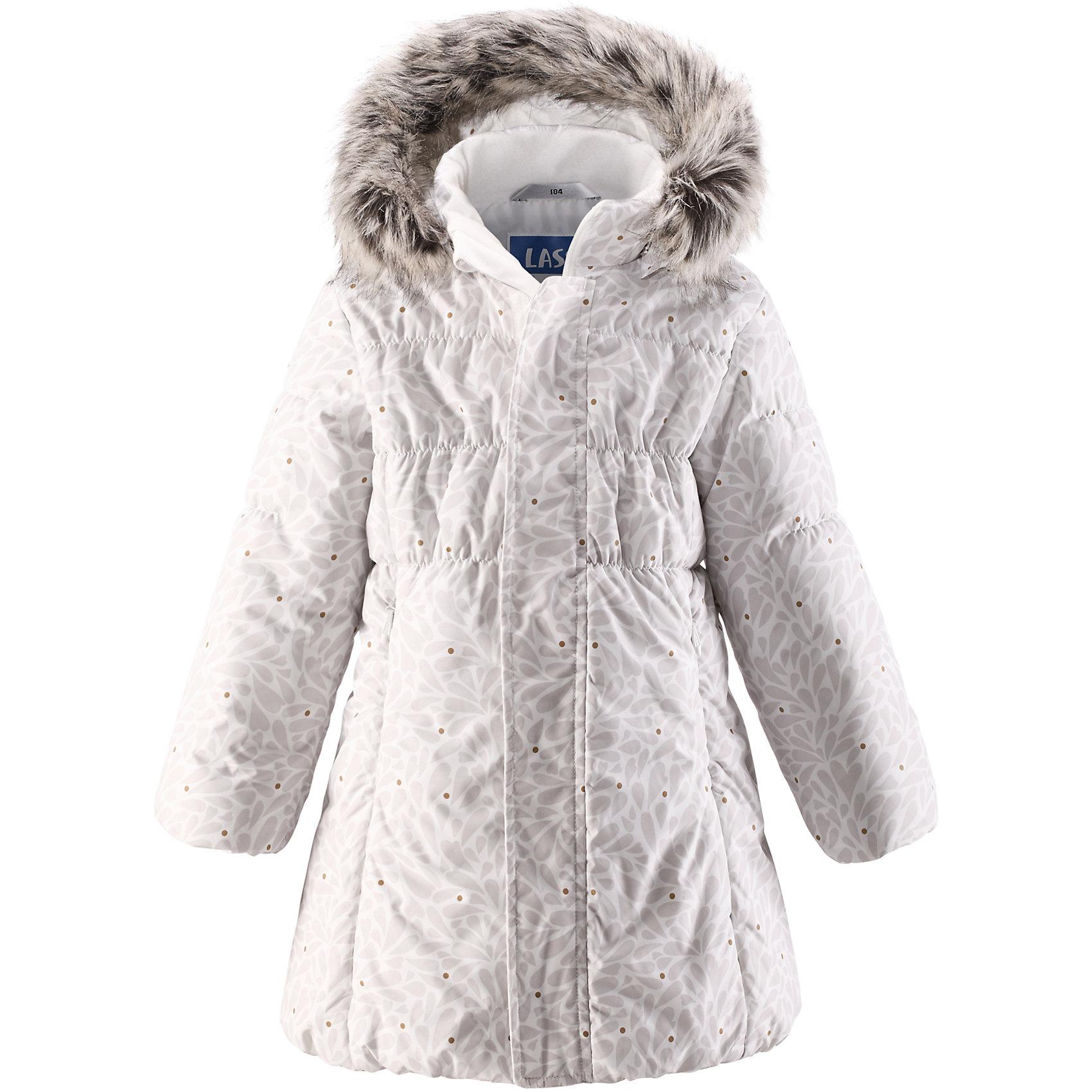 Пальто для девочки LASSIEЗимнее пальто для детей известной финской марки.<br><br>- Водоотталкивающий, ветронепроницаемый, «дышащий» и грязеотталкивающий материал.<br>- Крой для девочек. <br>- Гладкая подкладка из полиэстра.<br>- Средняя степень утепления. <br>- Безопасный съемный капюшон с отсоединяемой меховой каймой из искусственного меха.<br>- Эластичные манжеты. <br>- Регулируемый обхват талии. <br>- Карманы с клапанами.  <br><br>Рекомендации по уходу: Стирать по отдельности, вывернув наизнанку. Перед стиркой отстегните искусственный мех. Застегнуть молнии и липучки. Соблюдать температуру в соответствии с руководством по уходу. Стирать моющим средством, не содержащим отбеливающие вещества. Полоскать без специального средства. Сушение в сушильном шкафу разрешено при  низкой температуре.<br><br>Состав: 100% Полиамид, полиуретановое покрытие.  Утеплитель «Lassie wadding» 200гр.<br><br>Ширина мм: 356<br>Глубина мм: 10<br>Высота мм: 245<br>Вес г: 519<br>Цвет: белый<br>Возраст от месяцев: 48<br>Возраст до месяцев: 60<br>Пол: Женский<br>Возраст: Детский<br>Размер: 110,140,92,98,104,116,128,122,134<br>SKU: 4782368