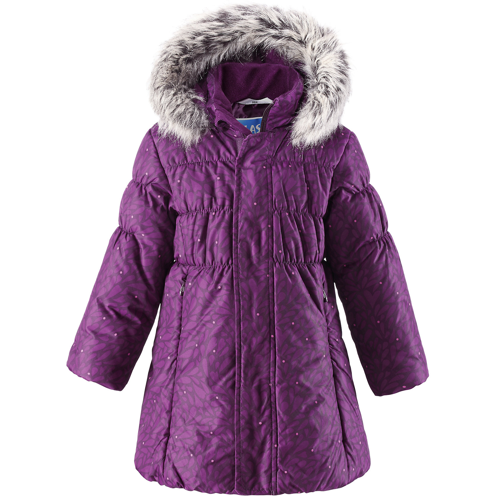 Пальто LASSIE by ReimaЗимнее пальто для детей известной финской марки.<br><br>- Водоотталкивающий, ветронепроницаемый, «дышащий» и грязеотталкивающий материал.<br>- Крой для девочек. <br>- Гладкая подкладка из полиэстра.<br>- Средняя степень утепления. <br>- Безопасный съемный капюшон с отсоединяемой меховой каймой из искусственного меха.<br>- Эластичные манжеты. <br>- Регулируемый обхват талии. <br>- Карманы с клапанами.  <br><br>Рекомендации по уходу: Стирать по отдельности, вывернув наизнанку. Перед стиркой отстегните искусственный мех. Застегнуть молнии и липучки. Соблюдать температуру в соответствии с руководством по уходу. Стирать моющим средством, не содержащим отбеливающие вещества. Полоскать без специального средства. Сушение в сушильном шкафу разрешено при  низкой температуре.<br><br>Состав: 100% Полиамид, полиуретановое покрытие.  Утеплитель «Lassie wadding» 200гр.<br><br>Ширина мм: 356<br>Глубина мм: 10<br>Высота мм: 245<br>Вес г: 519<br>Цвет: фиолетовый<br>Возраст от месяцев: 18<br>Возраст до месяцев: 24<br>Пол: Женский<br>Возраст: Детский<br>Размер: 92,140,134,128,122,116,110,104,98<br>SKU: 4782378