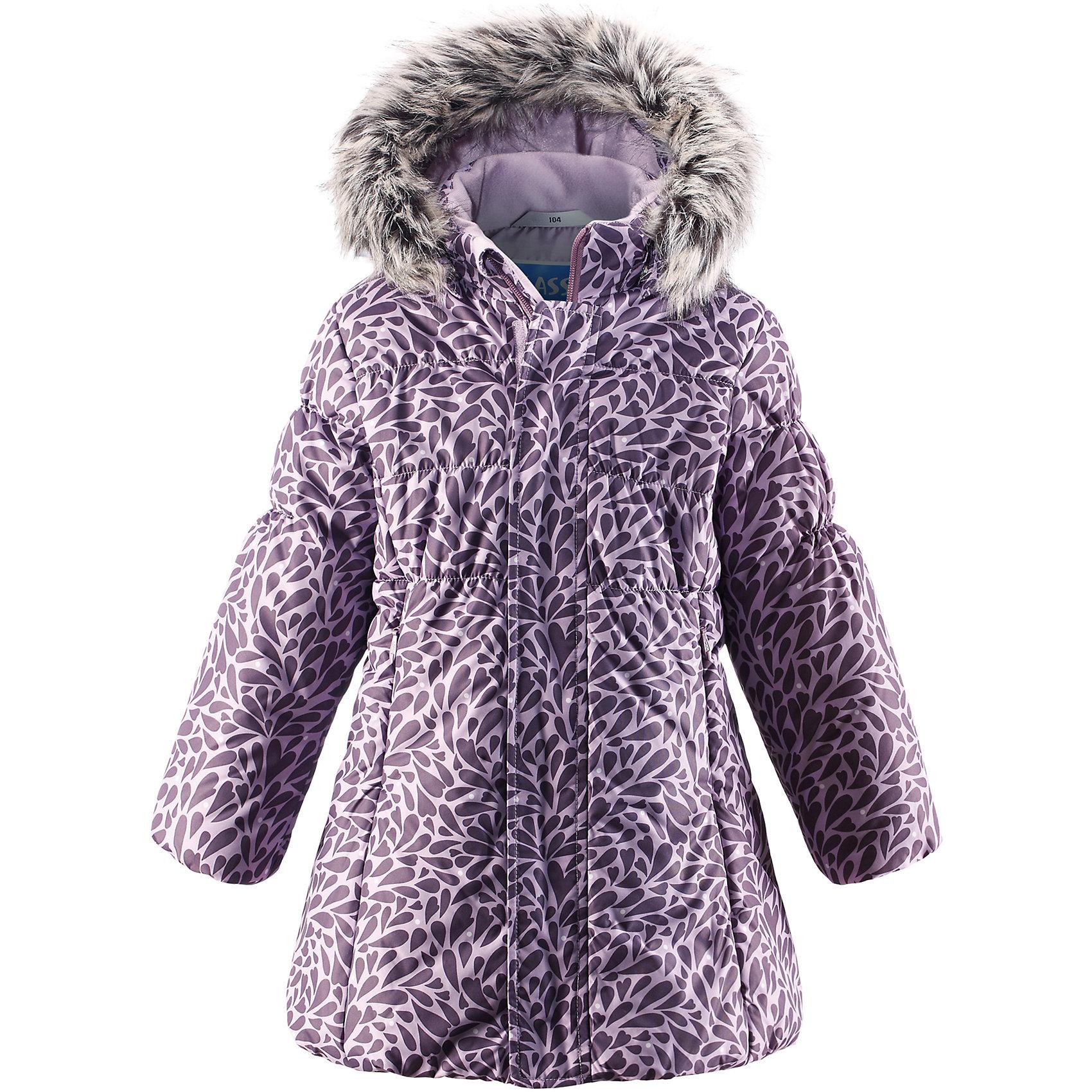 Пальто LASSIEОдежда<br>Зимнее пальто для детей известной финской марки.<br><br>- Водоотталкивающий, ветронепроницаемый, «дышащий» и грязеотталкивающий материал.<br>- Крой для девочек. <br>- Гладкая подкладка из полиэстра.<br>- Средняя степень утепления. <br>- Безопасный съемный капюшон с отсоединяемой меховой каймой из искусственного меха.<br>- Эластичные манжеты. <br>- Регулируемый обхват талии. <br>- Карманы с клапанами.  <br><br>Рекомендации по уходу: Стирать по отдельности, вывернув наизнанку. Перед стиркой отстегните искусственный мех. Застегнуть молнии и липучки. Соблюдать температуру в соответствии с руководством по уходу. Стирать моющим средством, не содержащим отбеливающие вещества. Полоскать без специального средства. Сушение в сушильном шкафу разрешено при  низкой температуре.<br><br>Состав: 100% Полиамид, полиуретановое покрытие.  Утеплитель «Lassie wadding» 200гр.<br><br>Ширина мм: 356<br>Глубина мм: 10<br>Высота мм: 245<br>Вес г: 519<br>Цвет: фиолетовый<br>Возраст от месяцев: 60<br>Возраст до месяцев: 72<br>Пол: Женский<br>Возраст: Детский<br>Размер: 116,128,134,140,122,110,104,98,92<br>SKU: 4782388